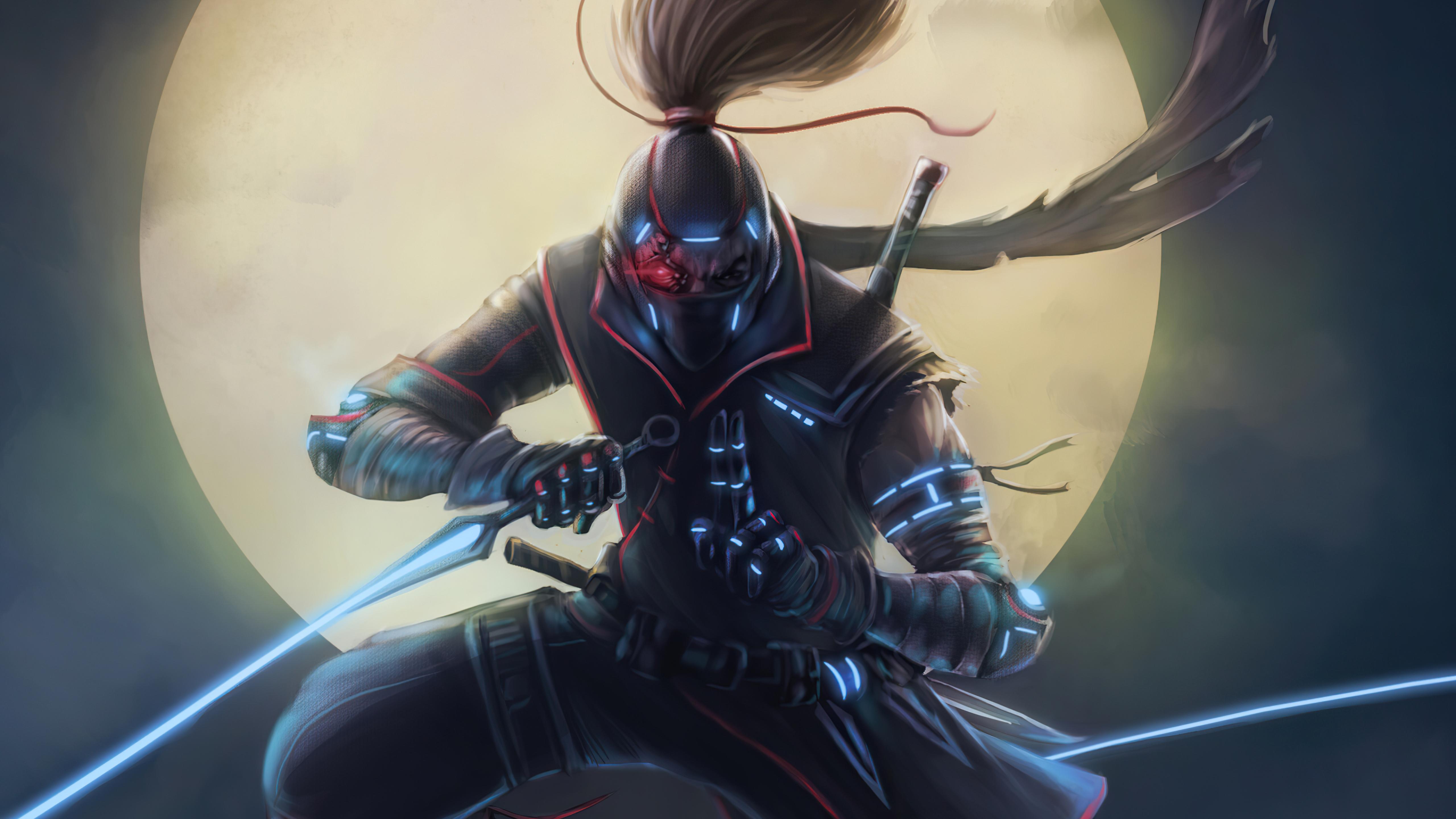 5120x2880 Cyberpunk Ninja Warrior 5K Wallpaper, HD Artist ...