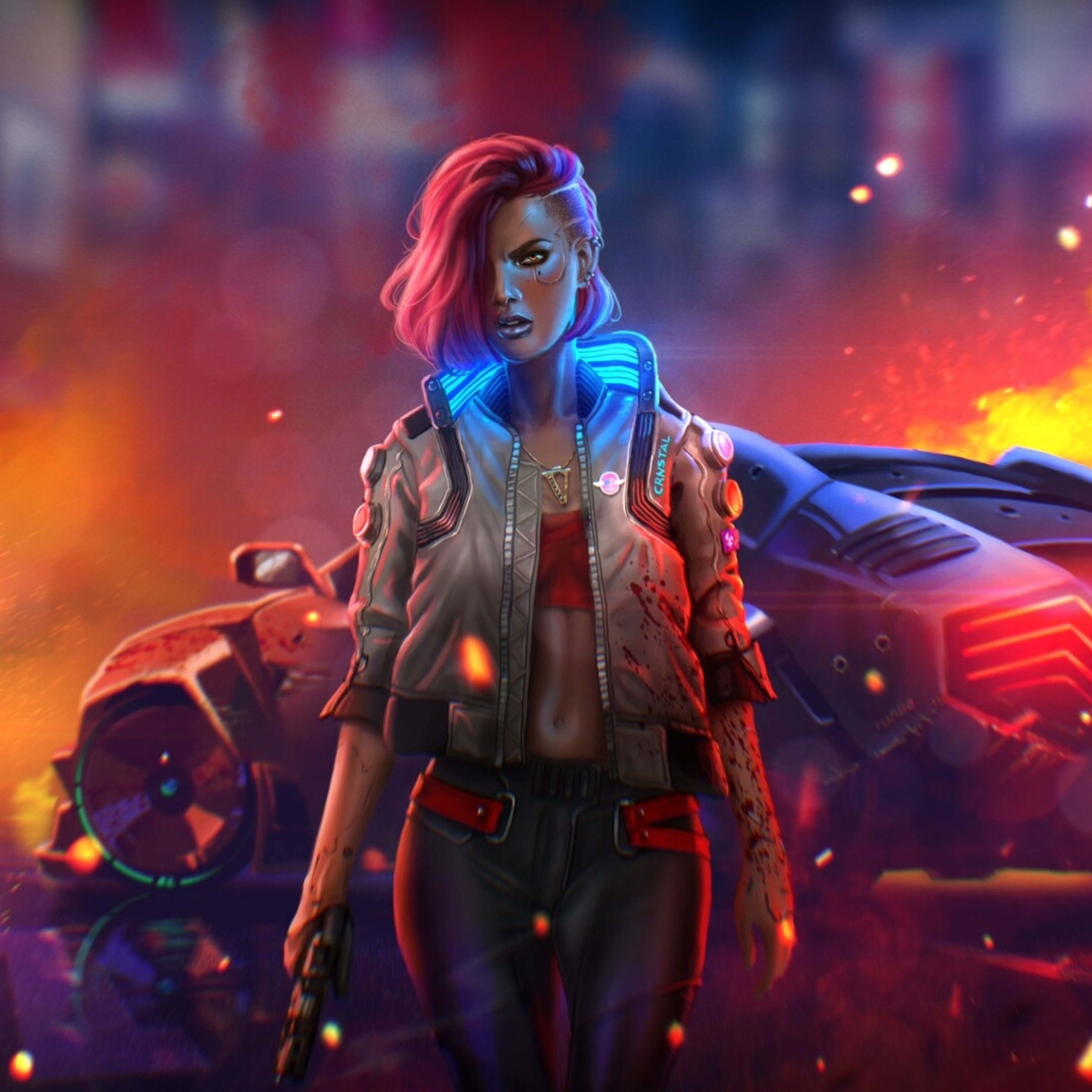 2932x2932 Cyborg Cyberpunk 2077 Digital Fan Art Ipad Pro ...
