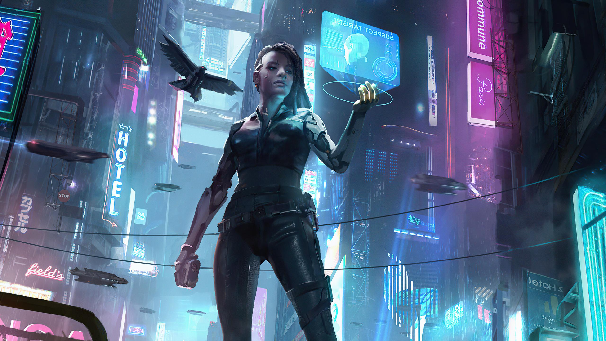 2560x1440 Cyborg Futuristic Cyberpunk Girl 1440P ...