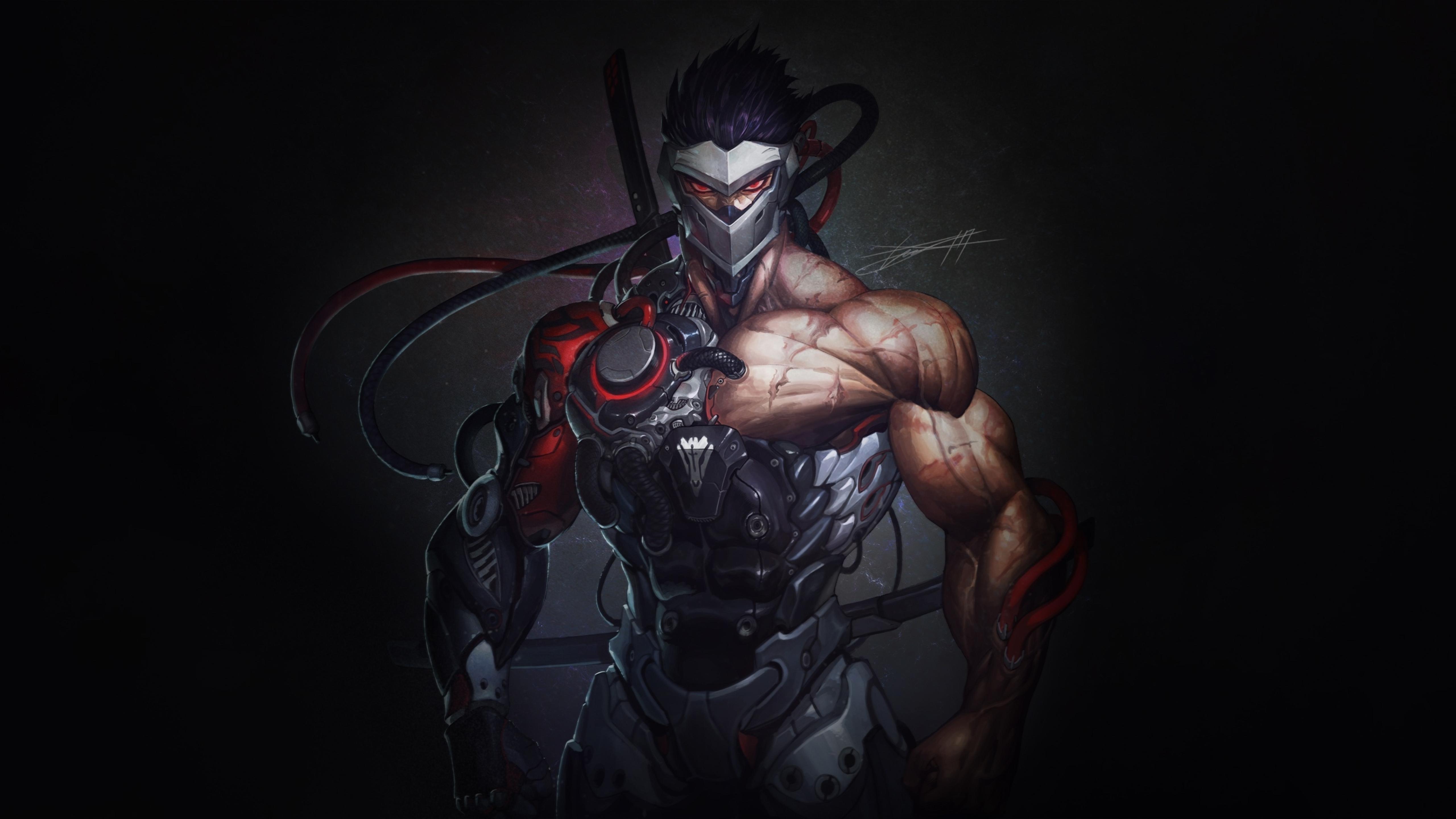 Cyborg Overwatch Genji 5K Wallpaper