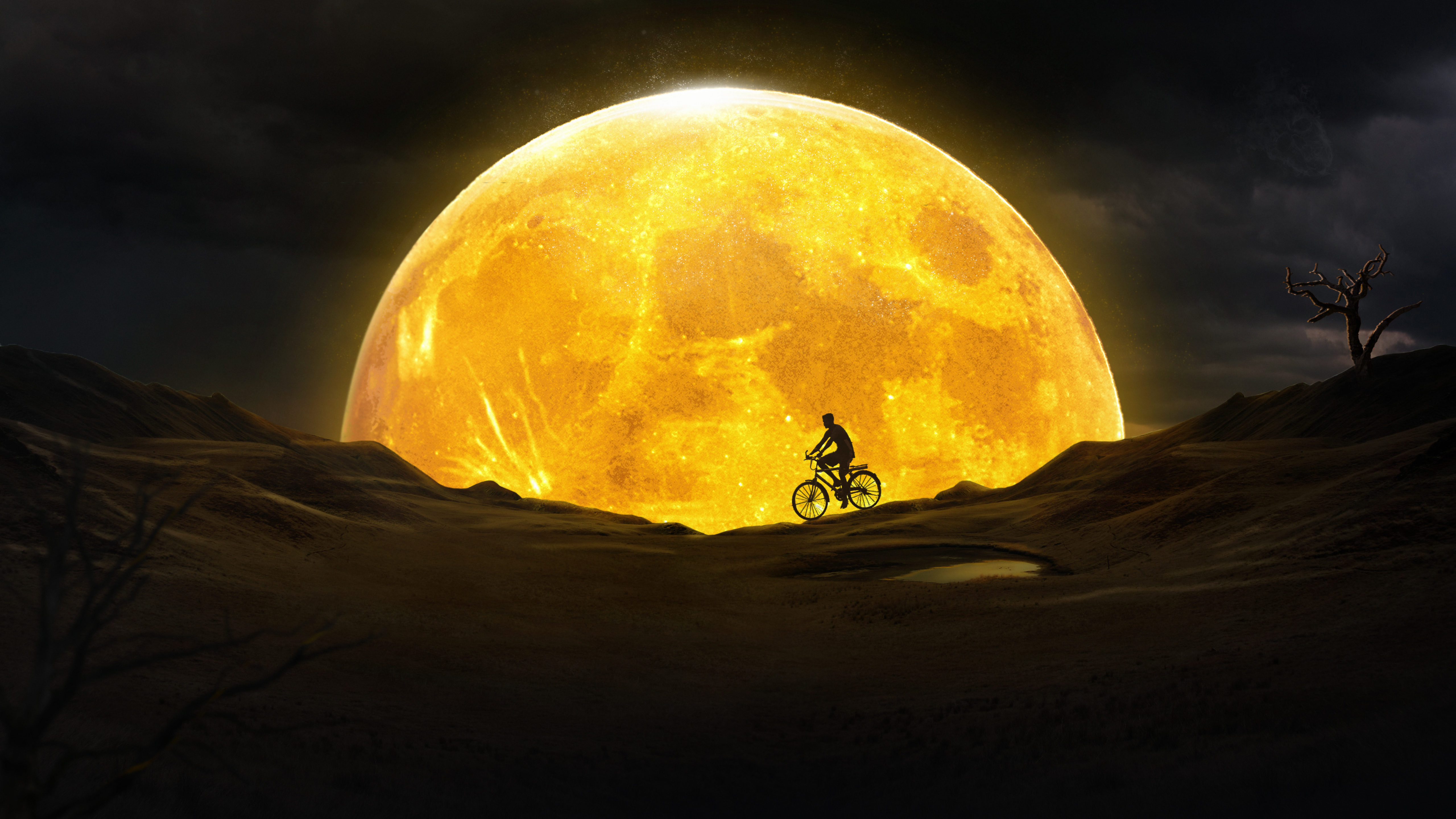 5120x2880 Cycling Near Yellow Moon 5k Wallpaper Hd Artist 4k Wallpapers Images Photos And Background