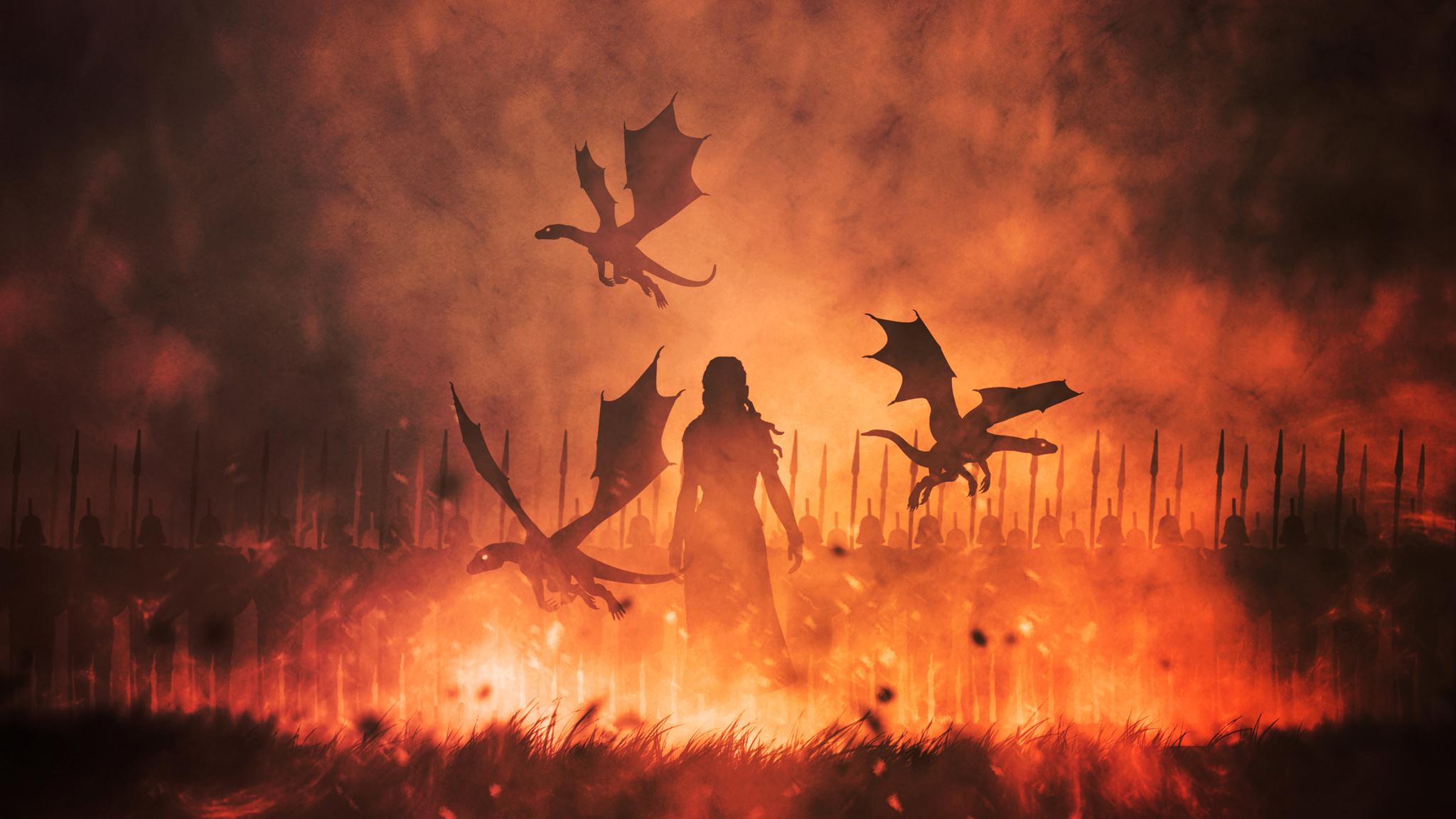 Daenerys Targaryen And Dragons In Fire Wallpaper Hd Tv