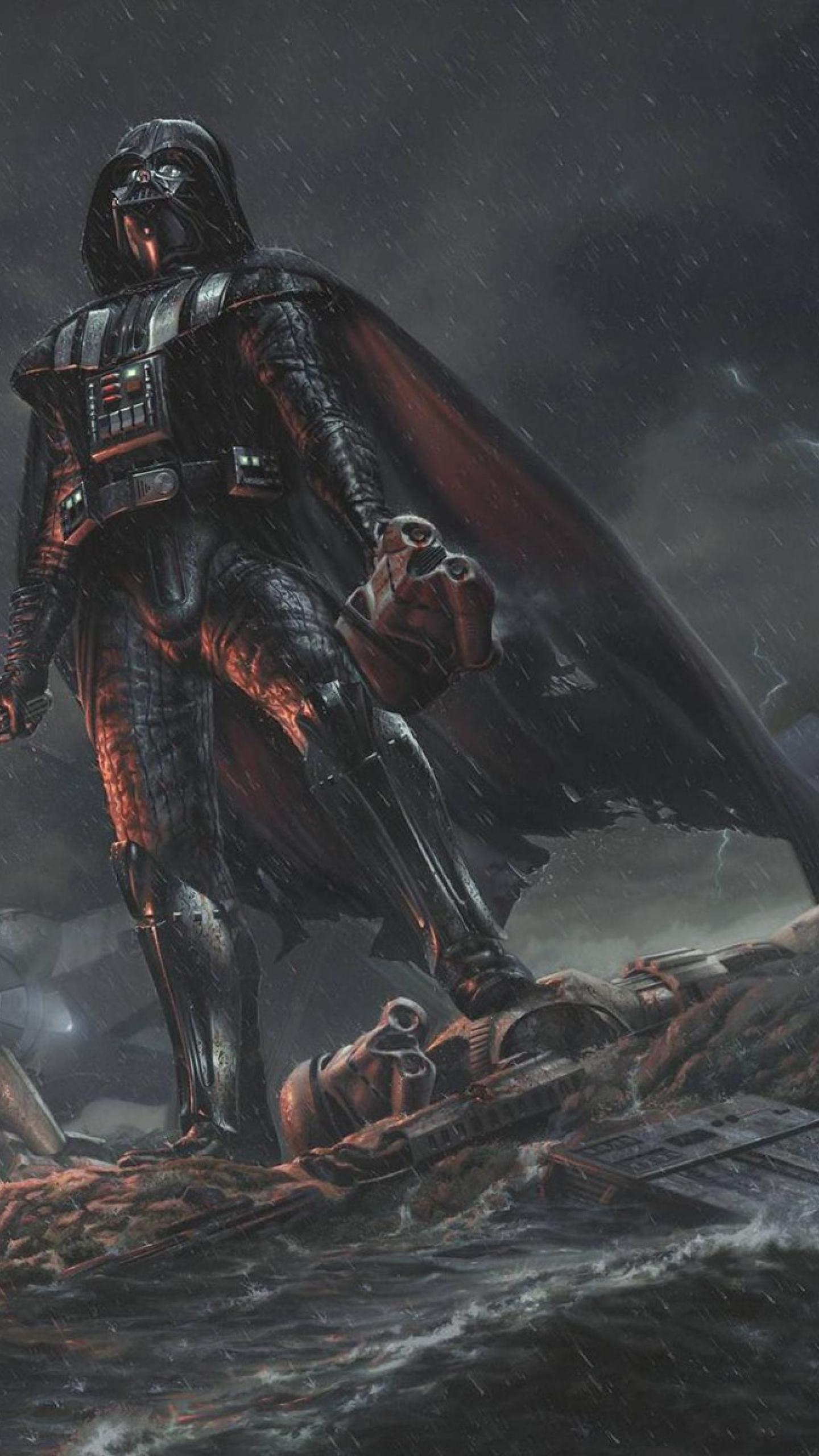 download darth vader star wars stormtrooper 1440x2560 resolution