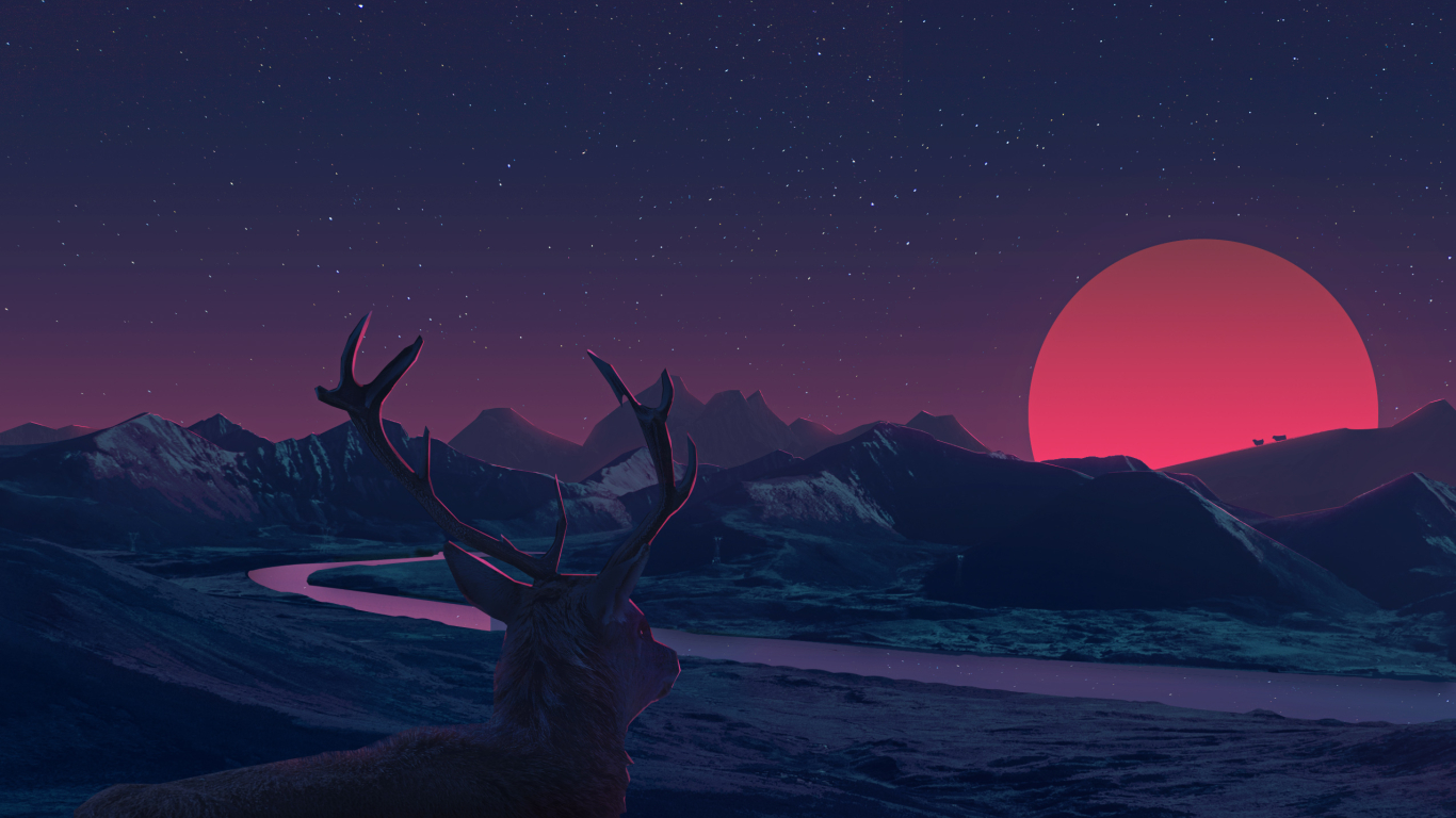 1366x768 Deer Staring At Sunset Anime 1366x768 Resolution Wallpaper Hd Fantasy 4k Wallpapers Images Photos And Background