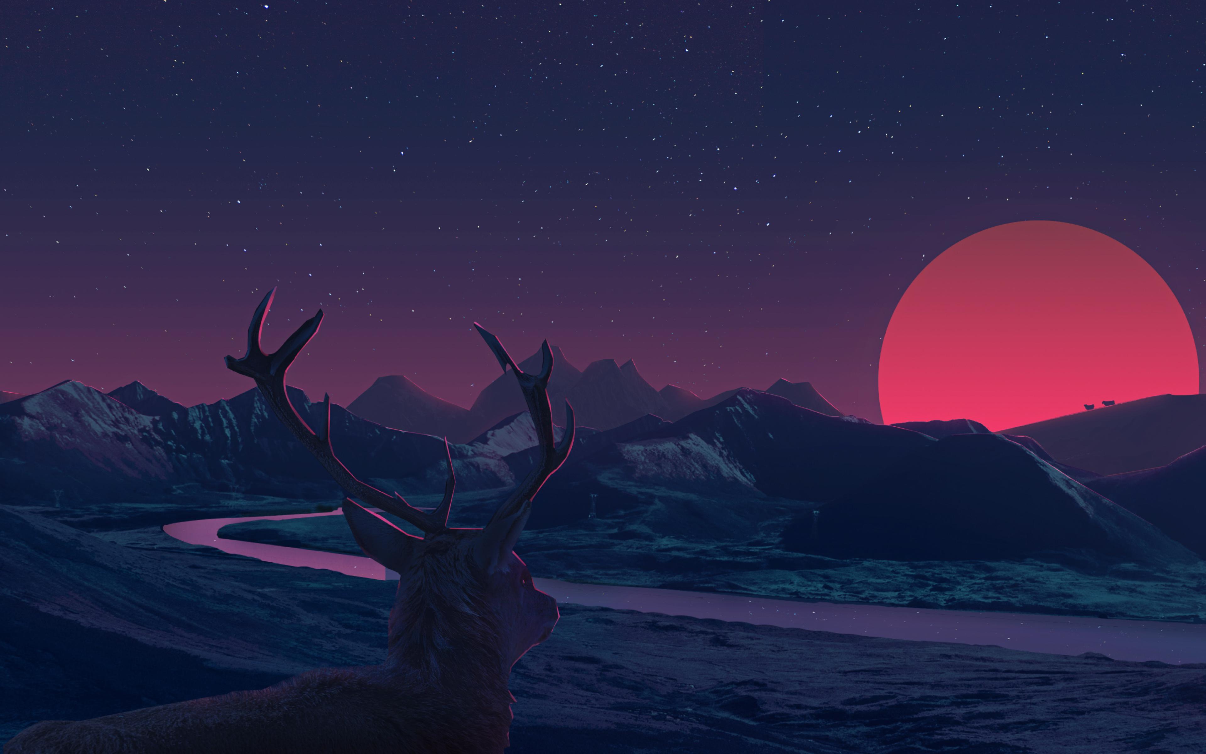 Deer Staring At Sunset Anime, Full HD 2K Wallpaper