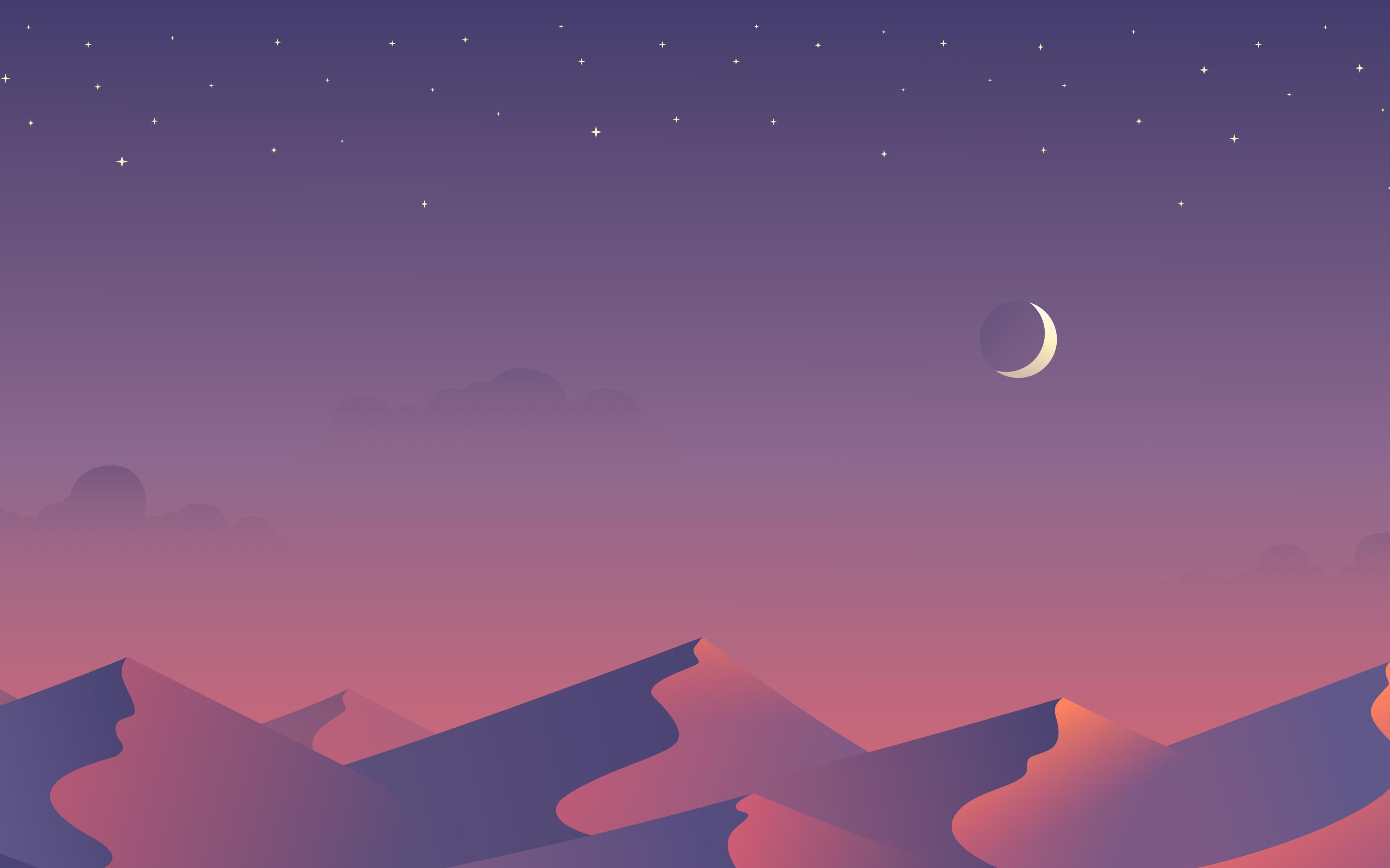 Desert Nights Moon 5k Minimalism, HD 4K Wallpaper