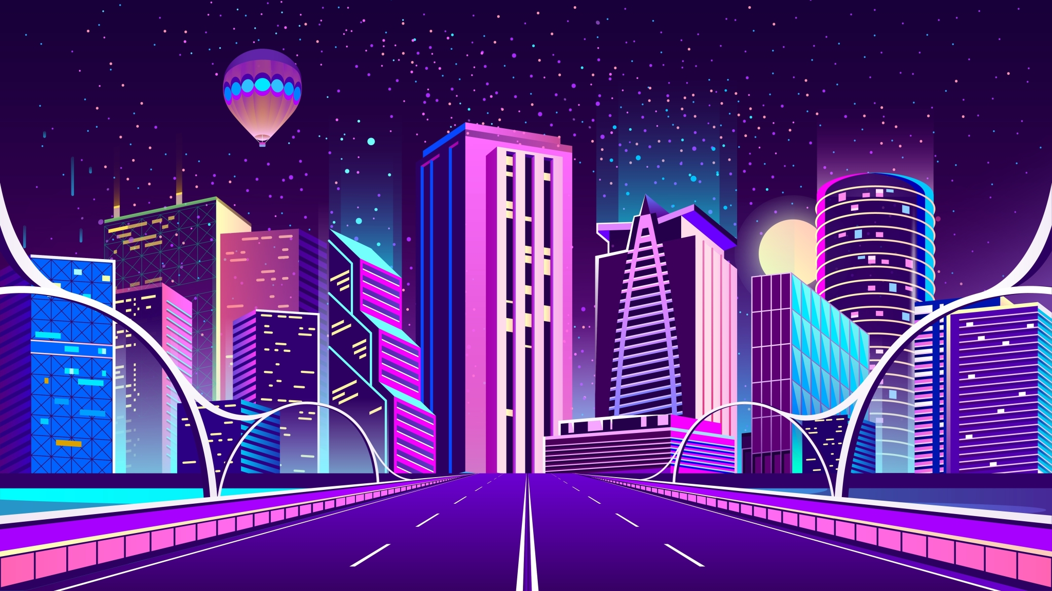 2048x1152 Digital City Road 2048x1152 Resolution Wallpaper
