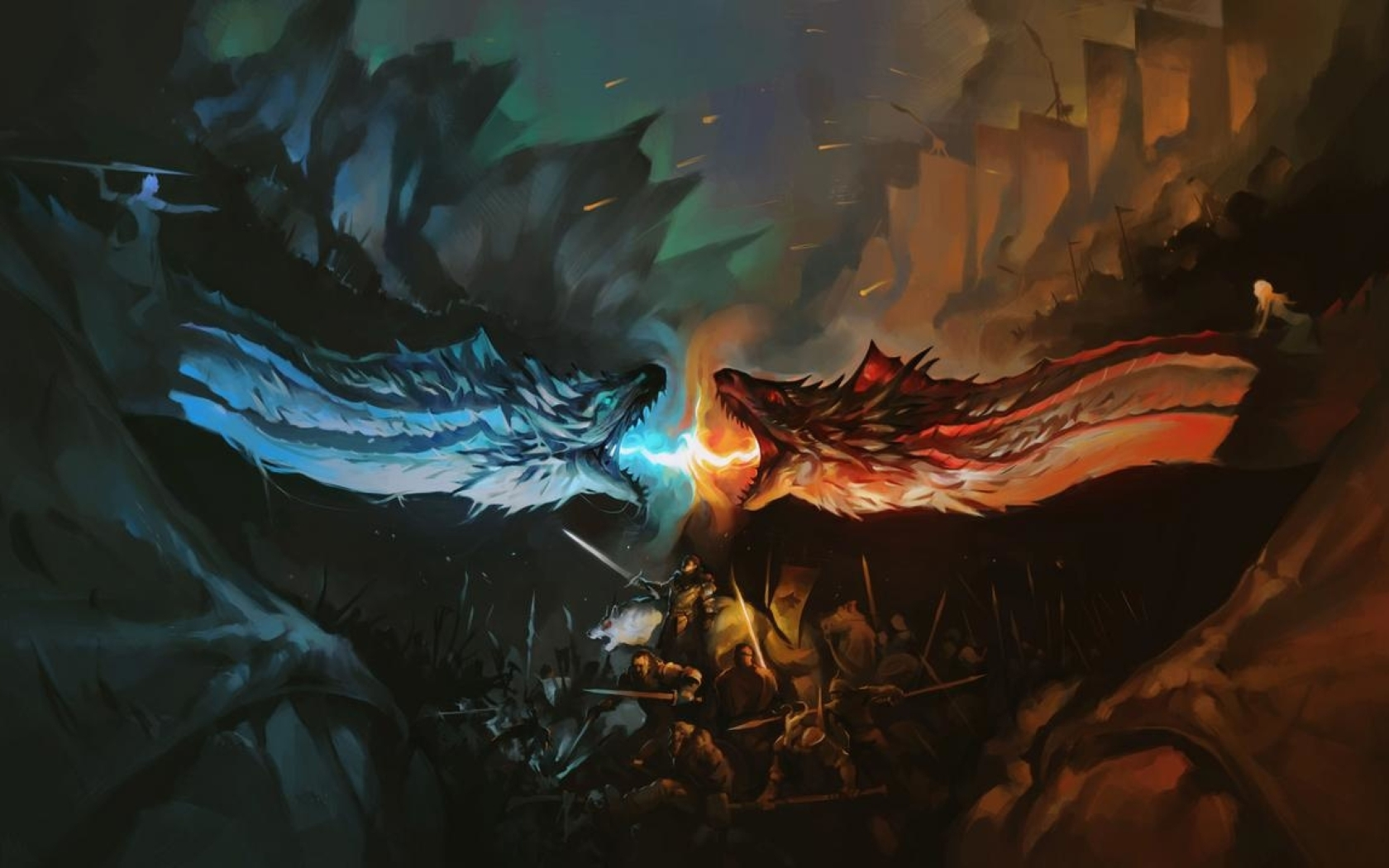 Dragon Battle Fire Vs Ice Game Of Thrones, HD Wallpaper Fire And Ice Dragon Wallpaper