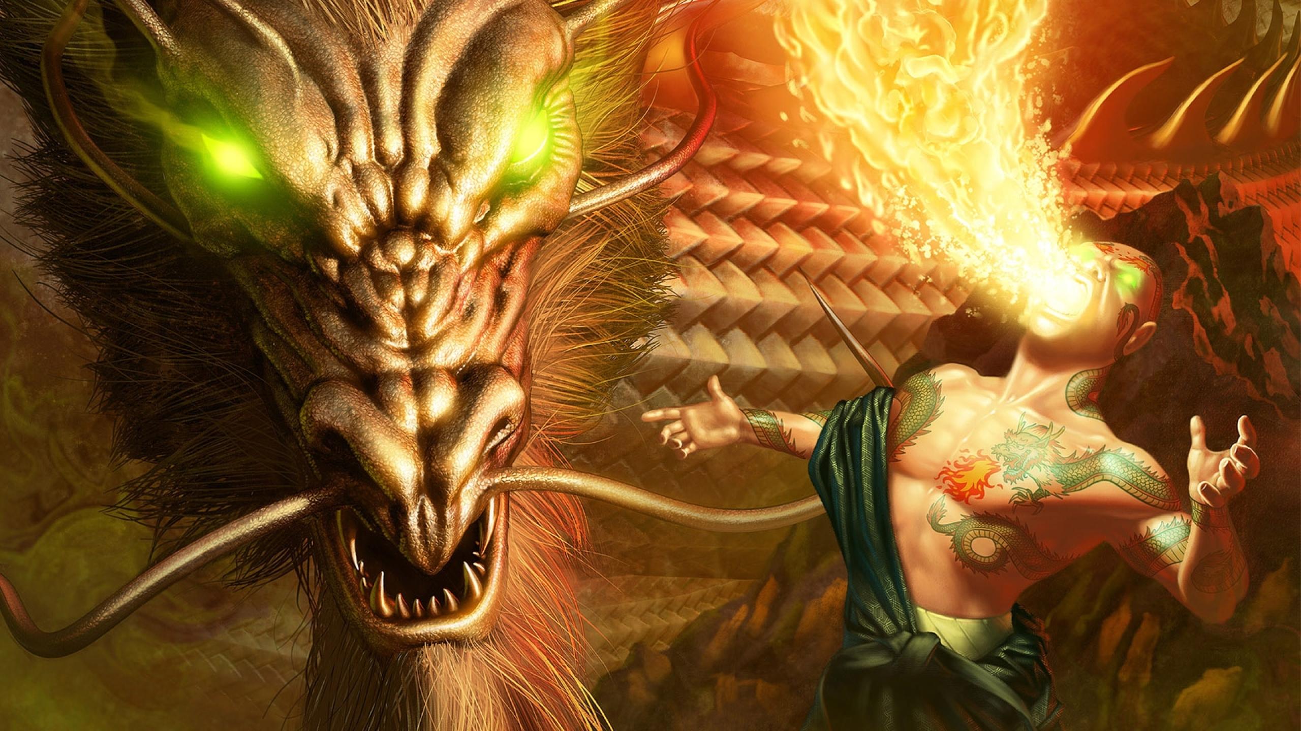 2560x1440 dragon, fire, eyes 1440P ...