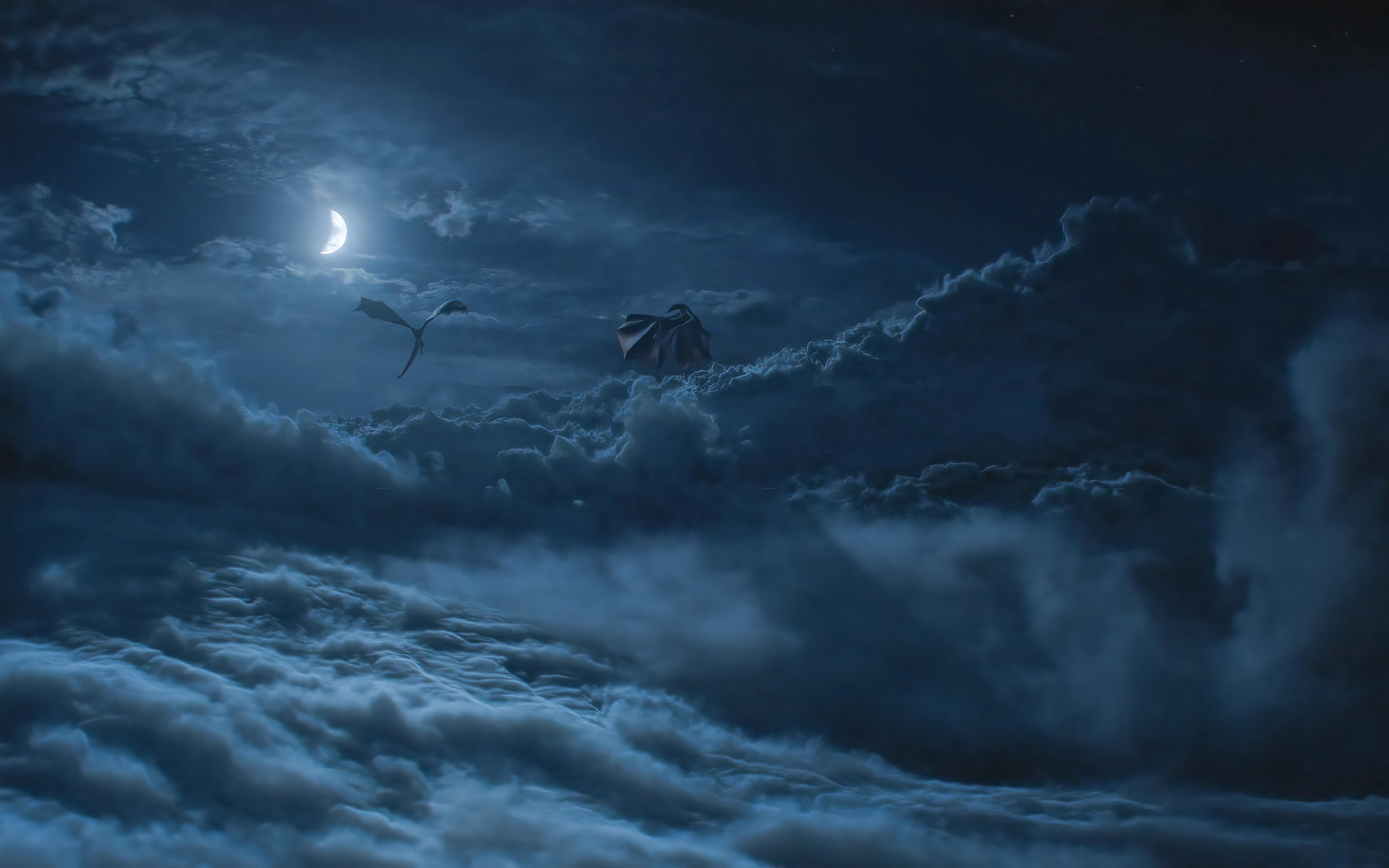2880x1800 Dragons Above Cloud Game Of Throne Season 8