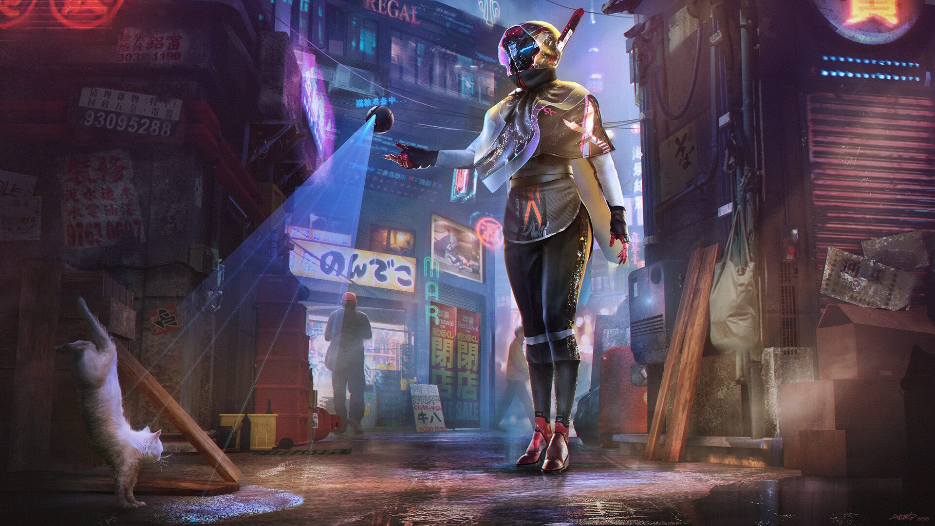 1920x1080 Droid Girl New Cyberpunk Art 1080P Laptop Full ...