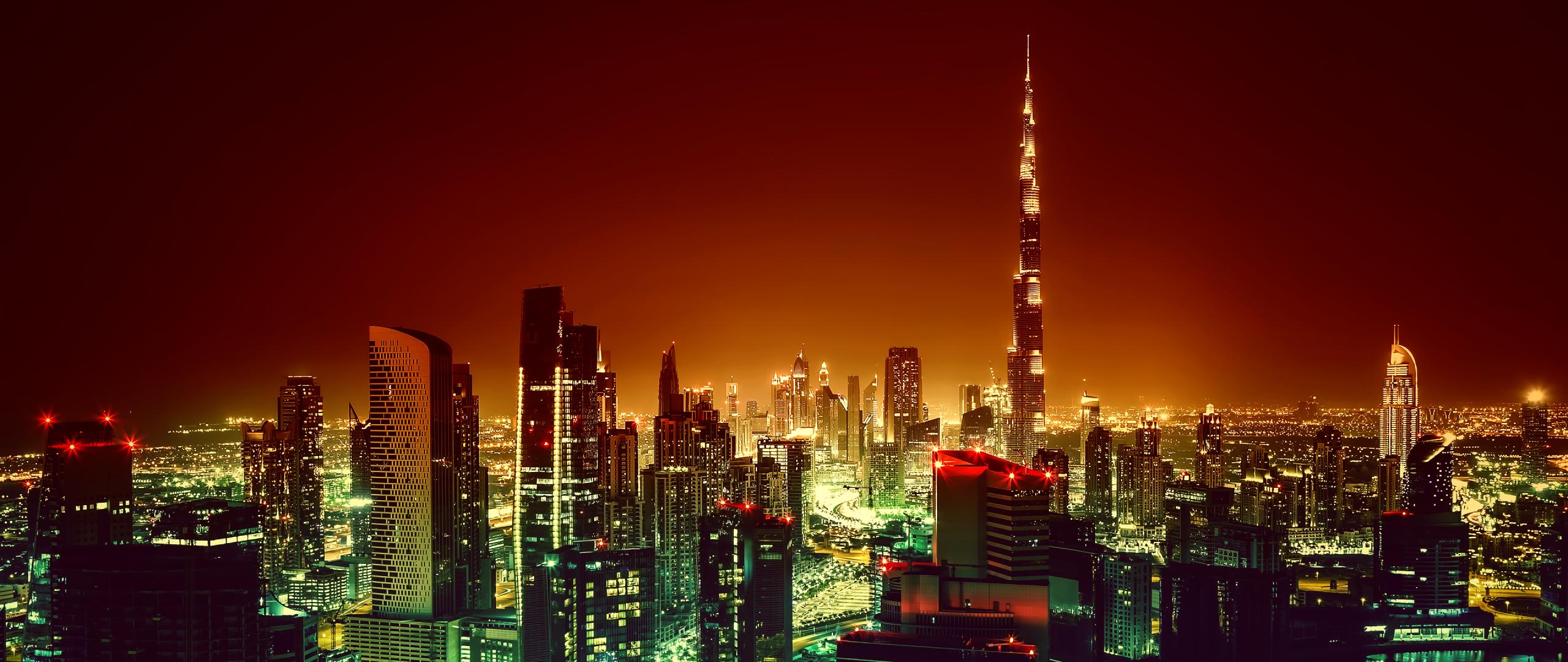 Dubai Burj Khalifa Cityscape In Night, HD 4K Wallpaper
