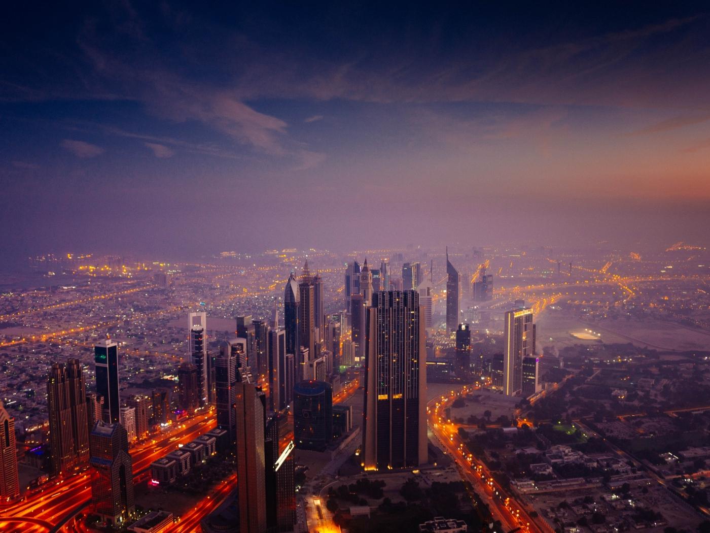 Dubai City In Sunrise  Hd 8k Wallpaper