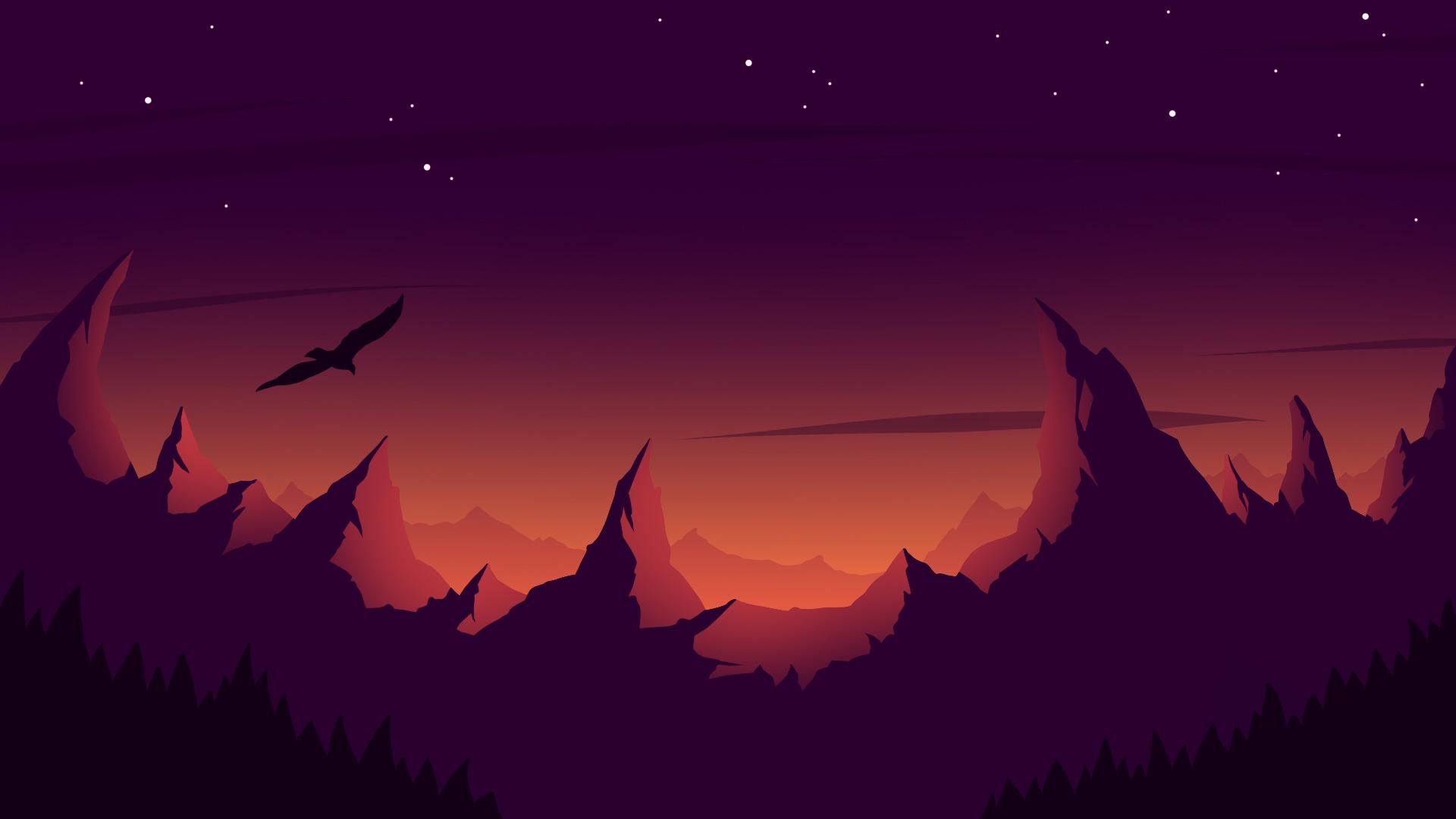 2560x1440 Eagle Mountain Sunset Minimalist 1440p Resolution
