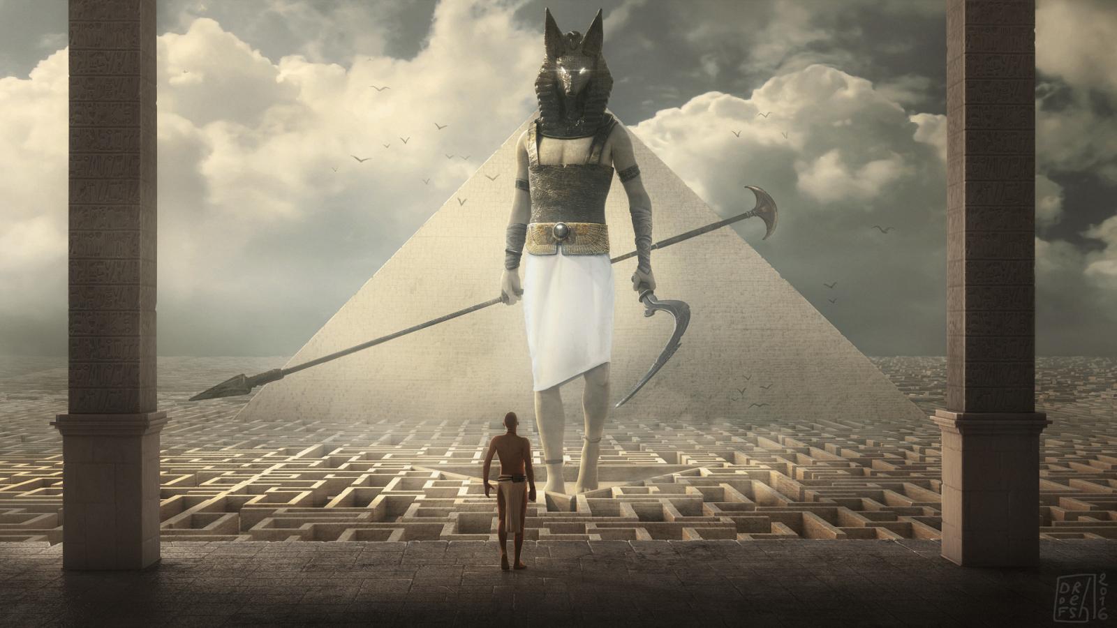 1600x900 Egypt Warrior Illustration Anubis Pyramid Fantasy