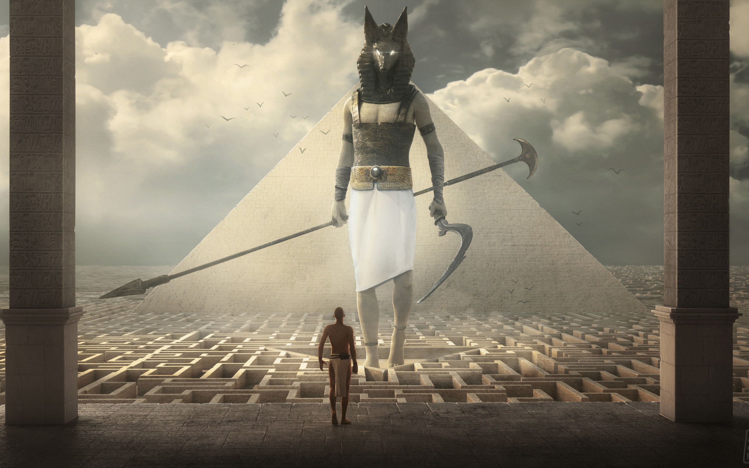 Egypt Warrior Illustration Anubis Pyramid Fantasy Art