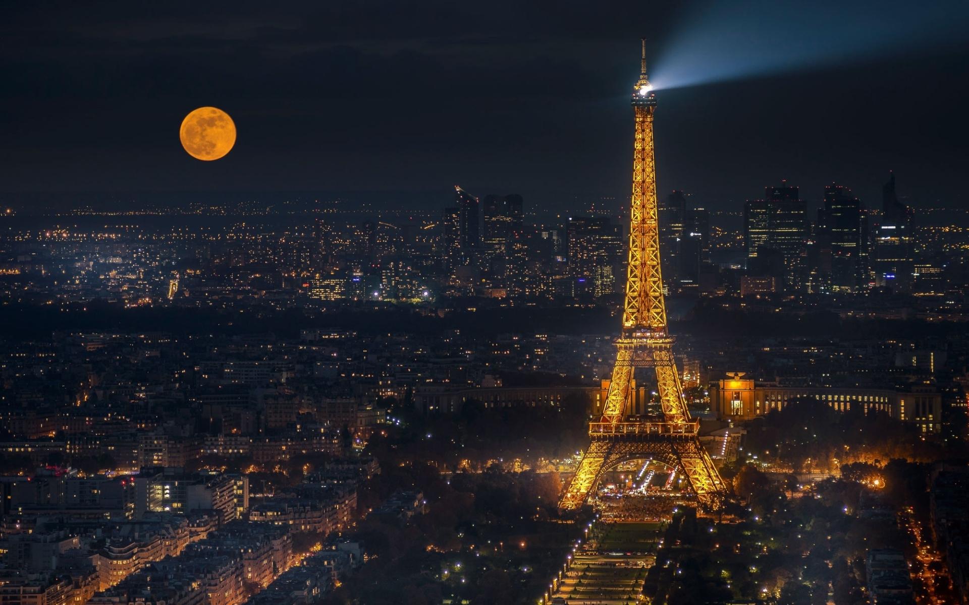 Eiffel Tower Cityscape In Moon Night, Full HD 2K Wallpaper