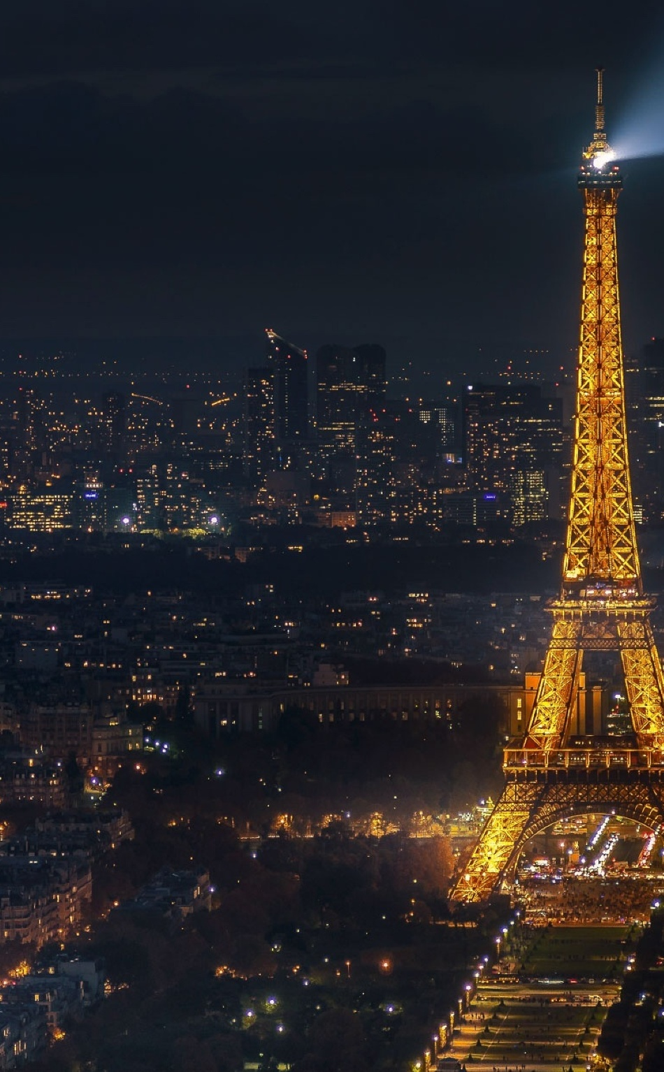 Eiffel Tower Cityscape In Moon Night, Full HD 2K Wallpaper