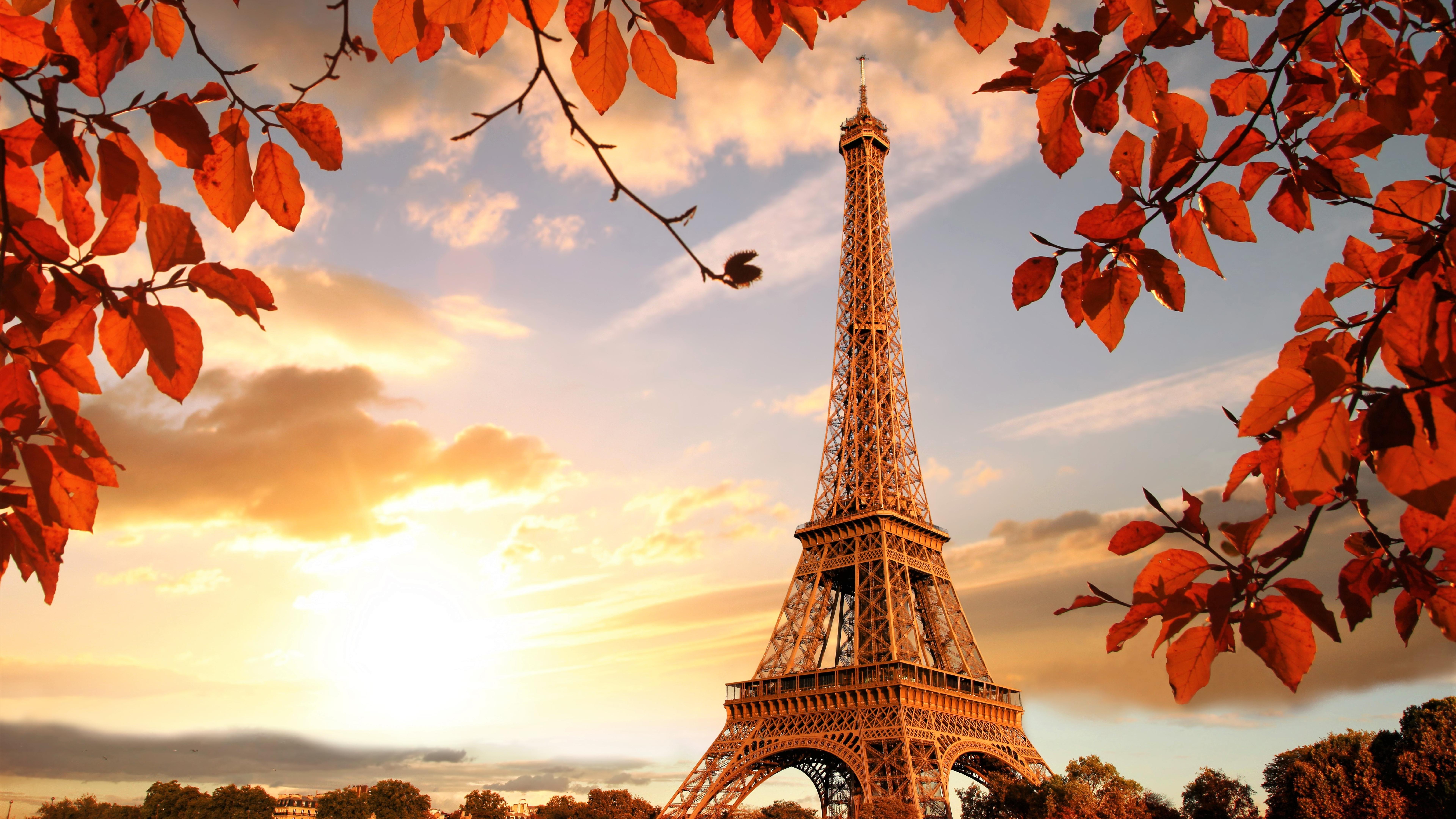 Eiffel Tower In Autumn France Paris Fall Hd 4k Wallpaper