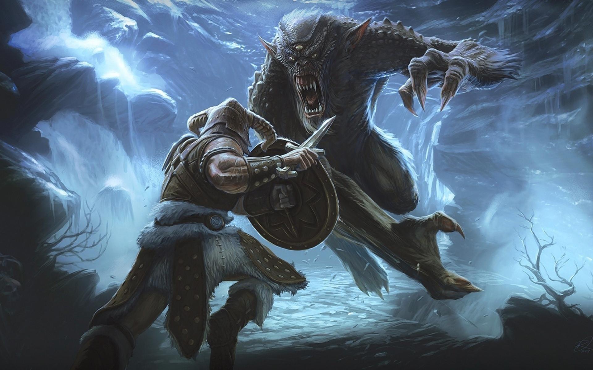 elder scrolls 5, skyrim, battle Wallpaper, HD Games 4K ...