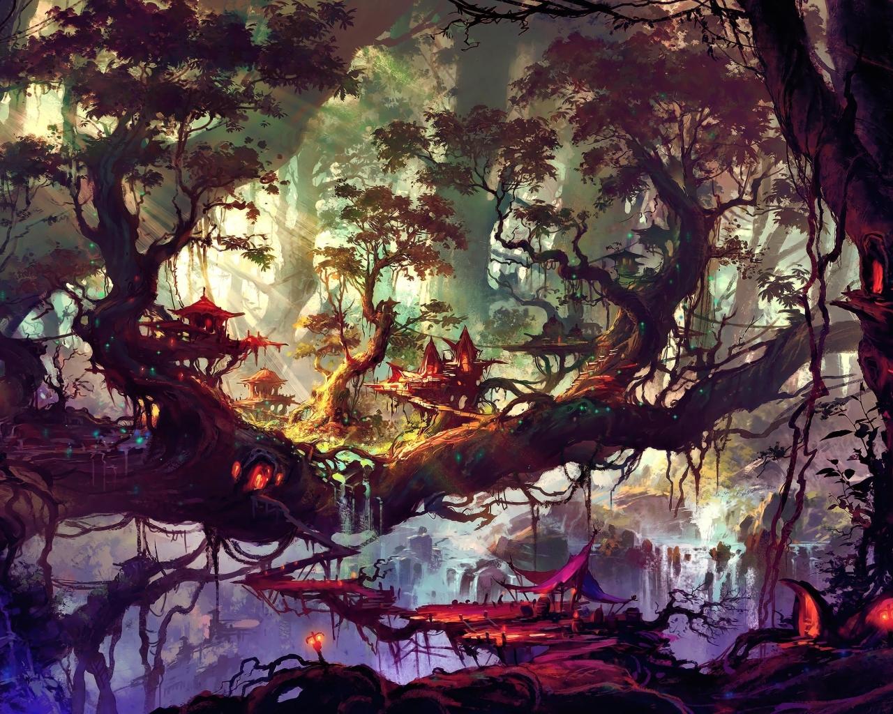 Elven Forest Wallpaper in 1280x1024 Resolution