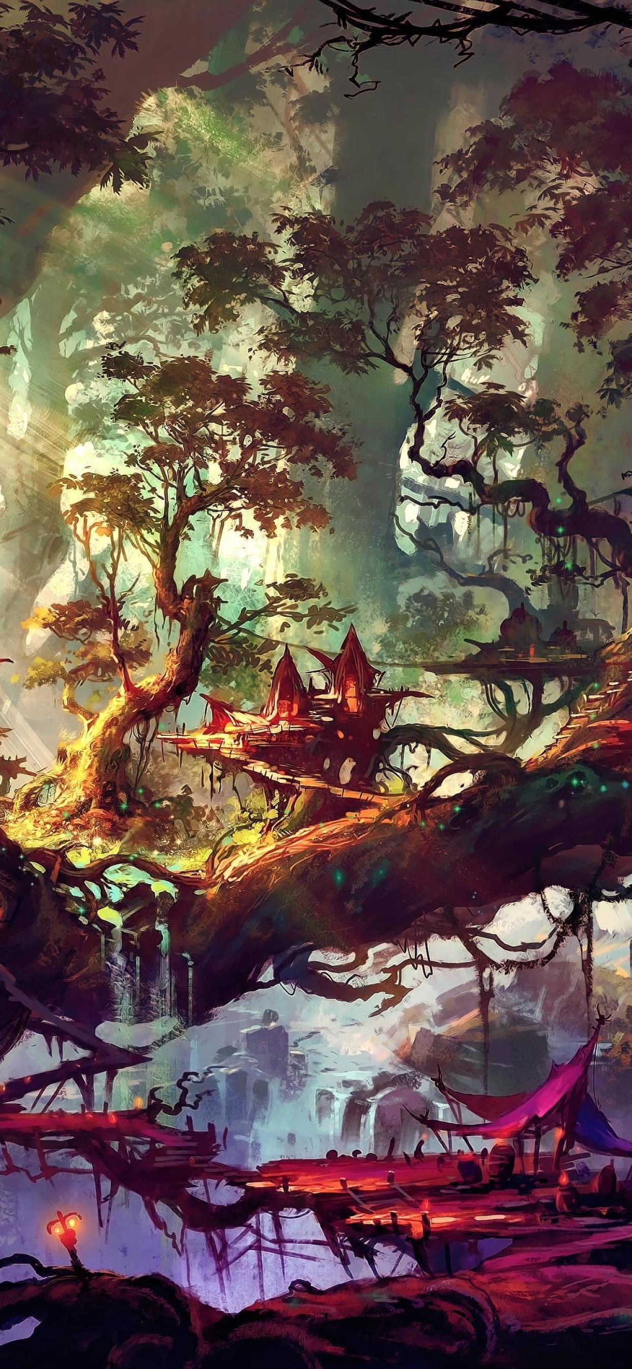 Elven Forest Wallpaper in 1242x2688 Resolution