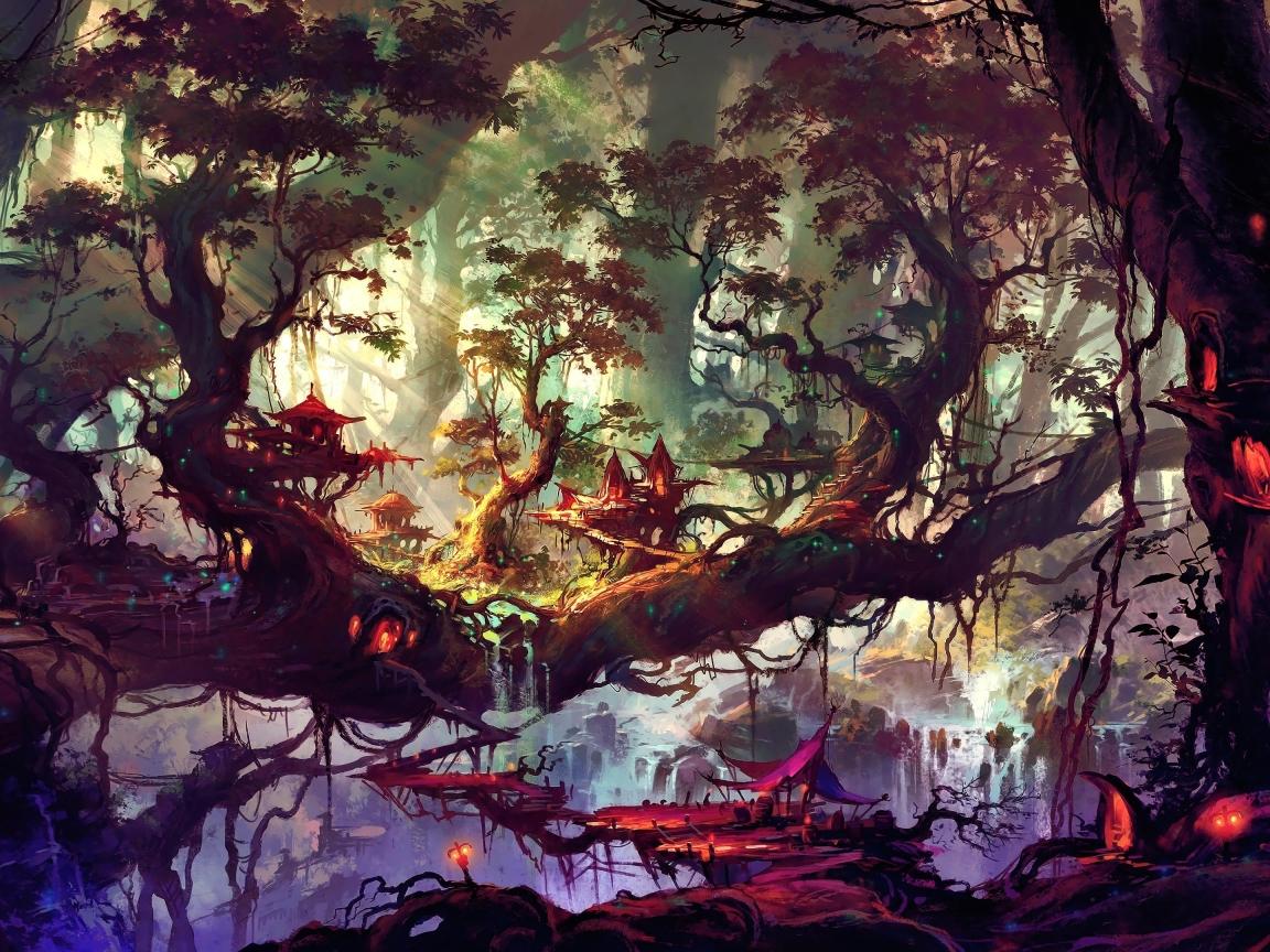 Elven Forest Wallpaper in 1152x864 Resolution