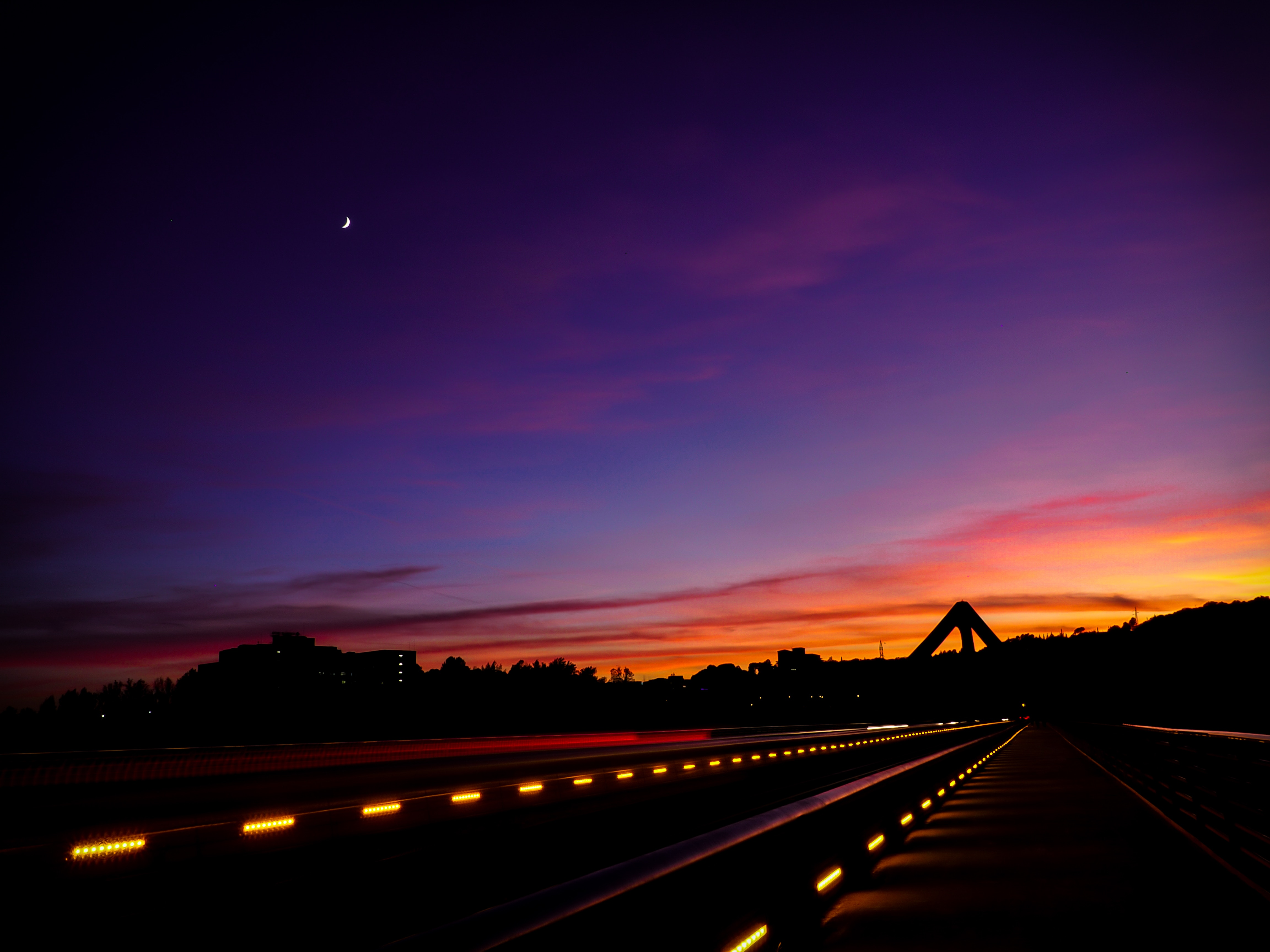 1366x768 Empty Road Moon Light And Sunset 1366x768