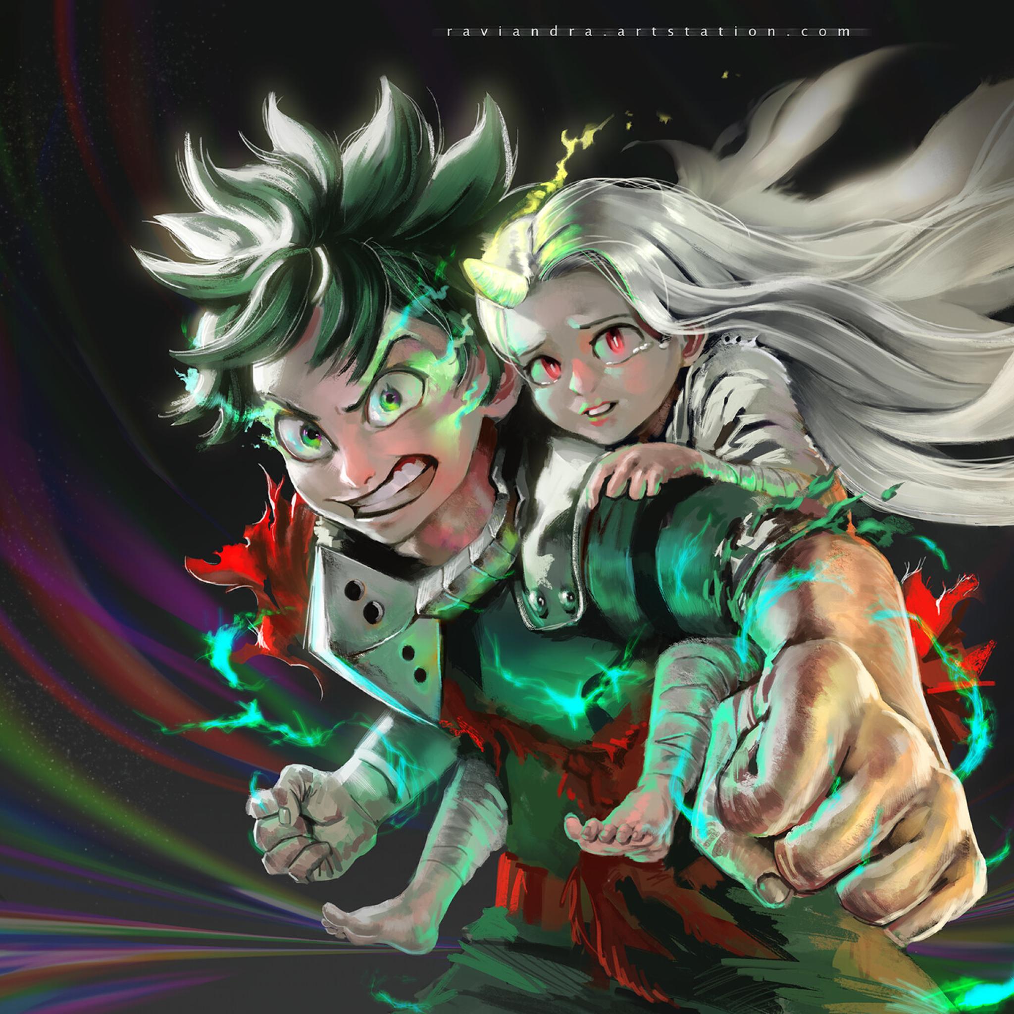 Eri and Izuku Midoriya Wallpaper in 2048x2048 Resolution