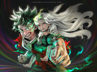 Eri and Izuku Midoriya Wallpaper in 320x240 Resolution