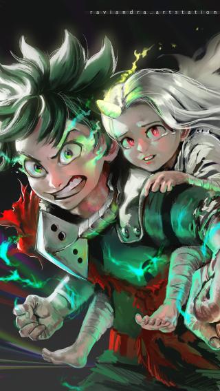 Eri and Izuku Midoriya Wallpaper in 320x568 Resolution