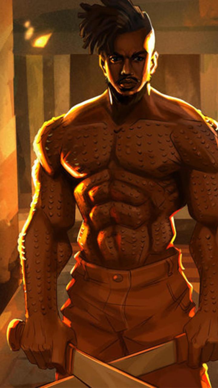 Erik Killmonger Michael Jordan Artwork Full HD Wallpaper