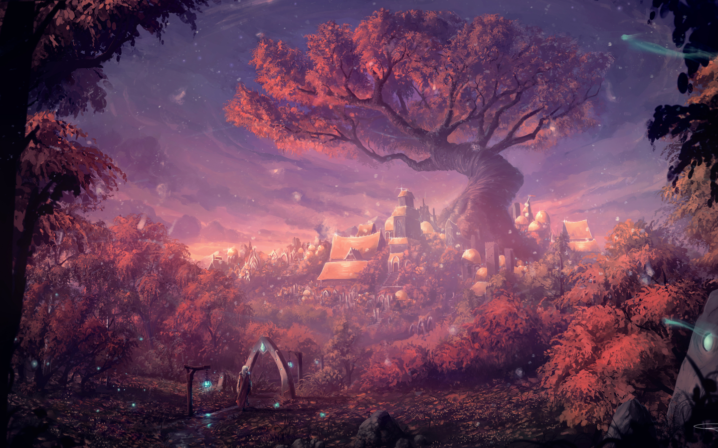 Fantasy Forest City Hd 4k Wallpaper