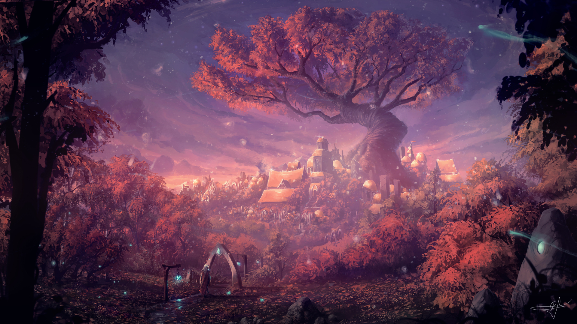 1920x1080 Fantasy Forest City 1080P Laptop Full HD ...