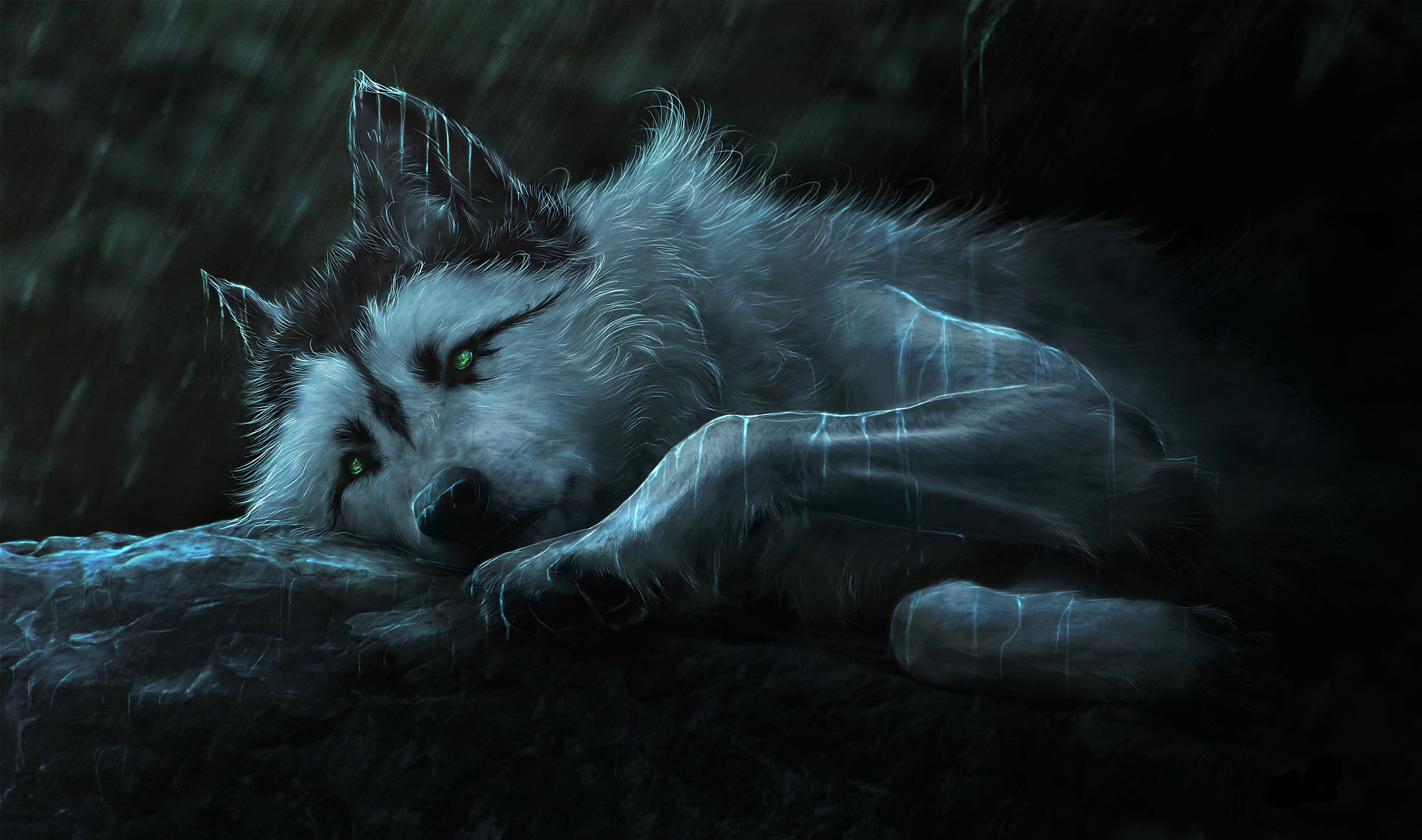 download fantasy wolf painting 2560x1024 resolution hd 4k