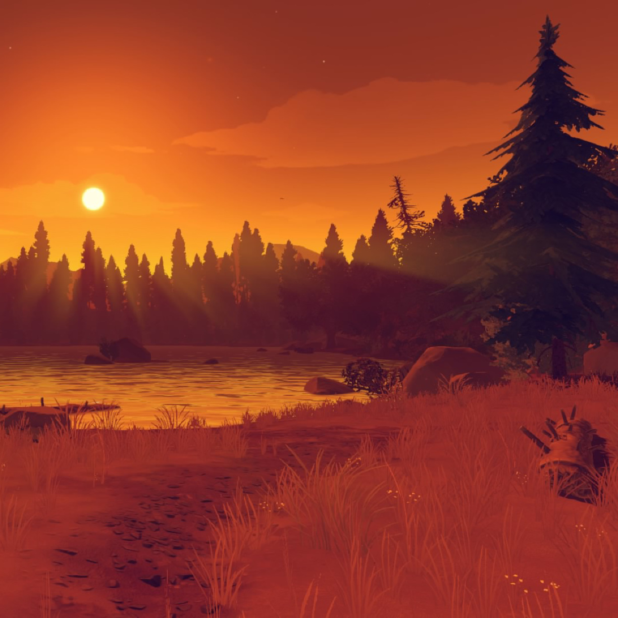 Firewatch Orange Sunset, Full HD Wallpaper