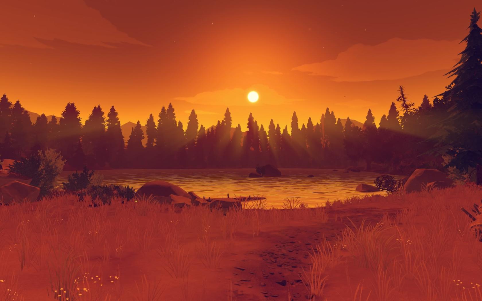 Firewatch Orange Sunset, Full HD Wallpaper
