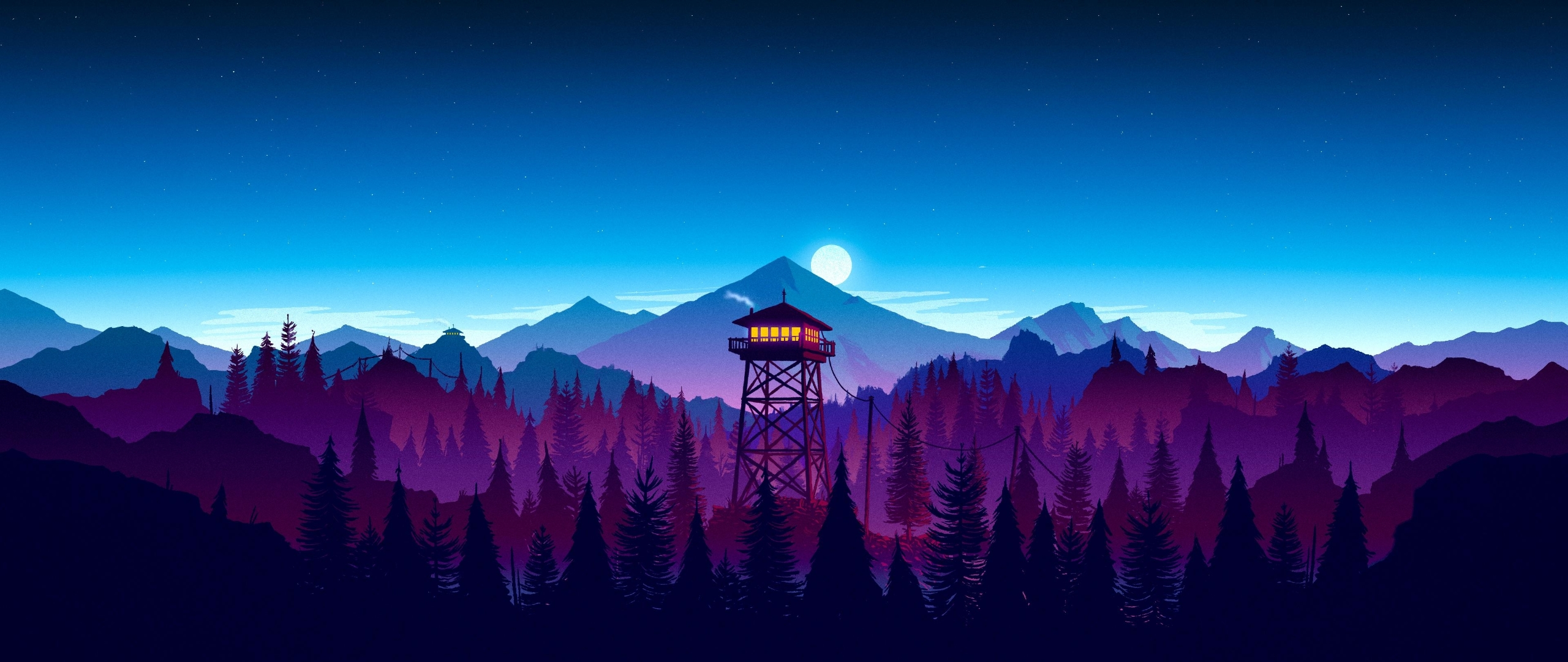 Download Firewatch Sunset Artwork 2560x1080 Resolution HD 4K Wallpaper