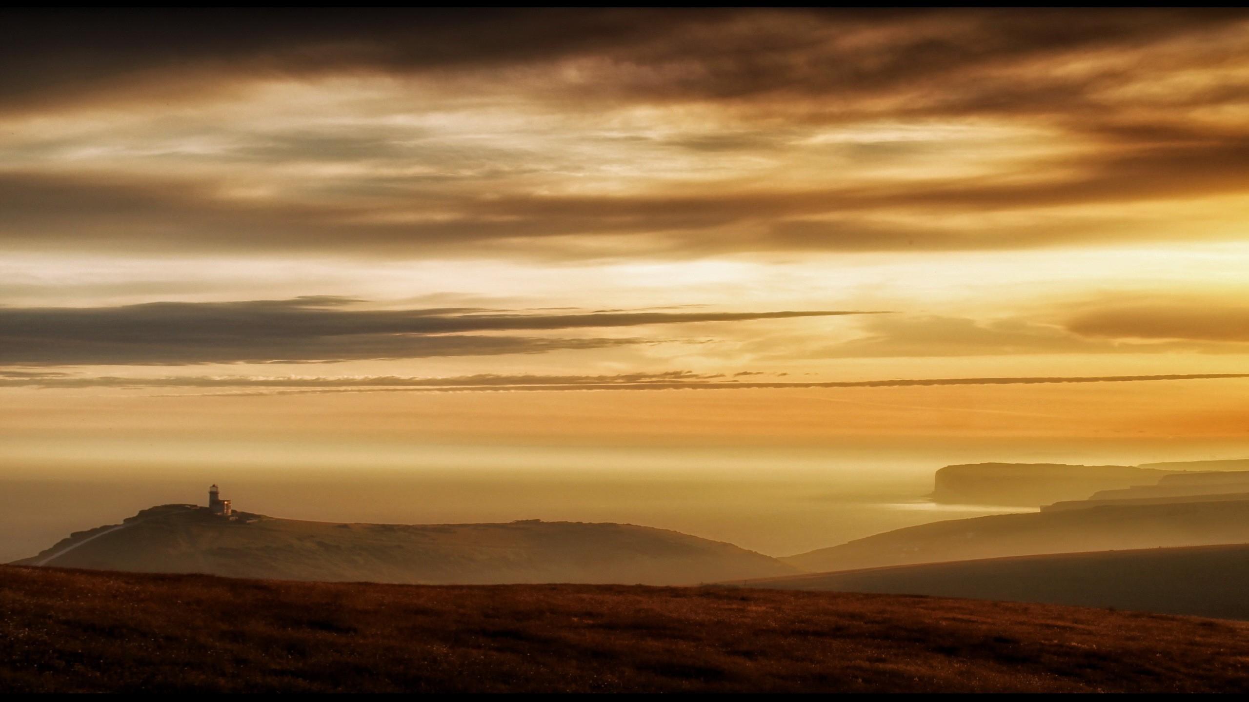 природа горизонт закат небо облака туман nature horizon sunset the sky clouds fog скачать