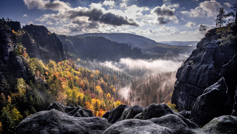 1360x768 Fog Forest Mountain Photography Desktop Laptop HD ...
