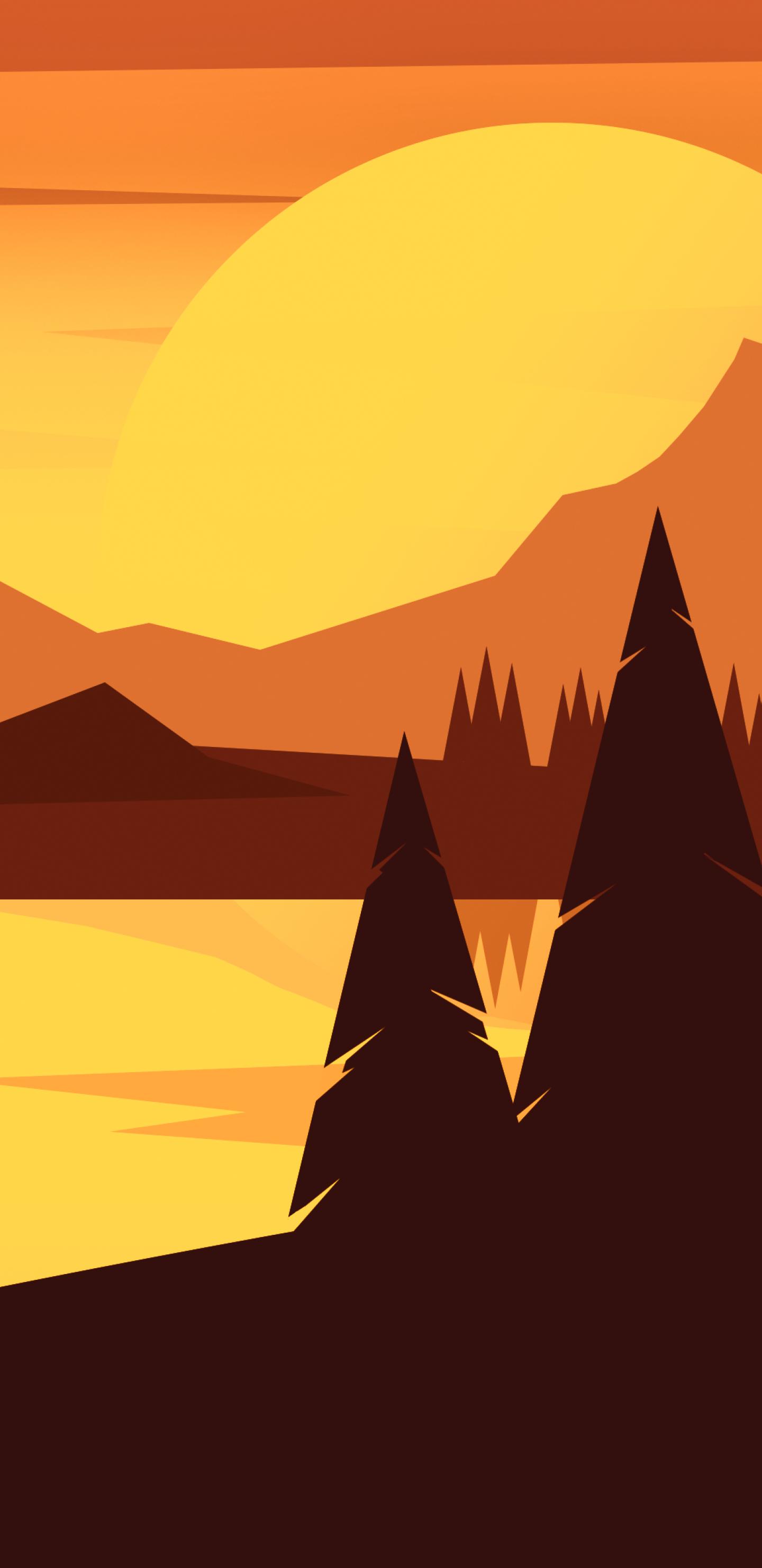 1440x2960 Forest Minimal Mountain Landscape Samsung Galaxy ...