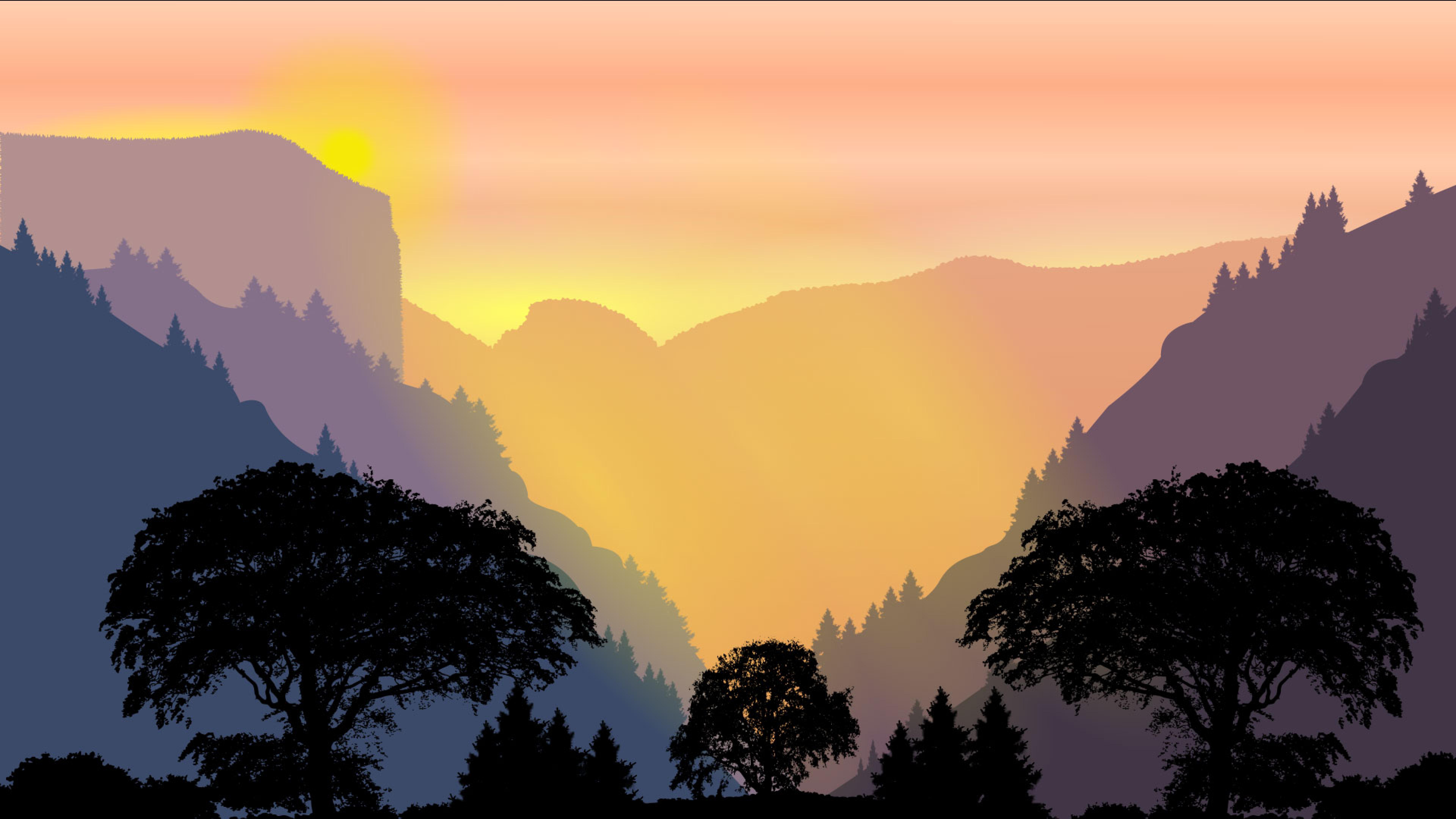 Forest minimal paint artwork full hd wallpaper - 8k minimal wallpaper ...