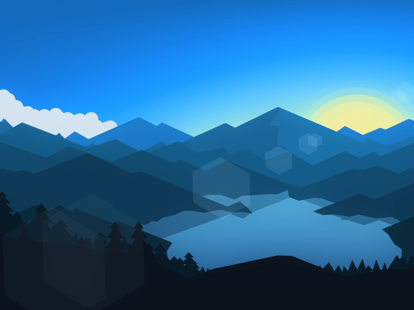 Forest Mountains Sunset Cool Weather Minimalism Hd 8k