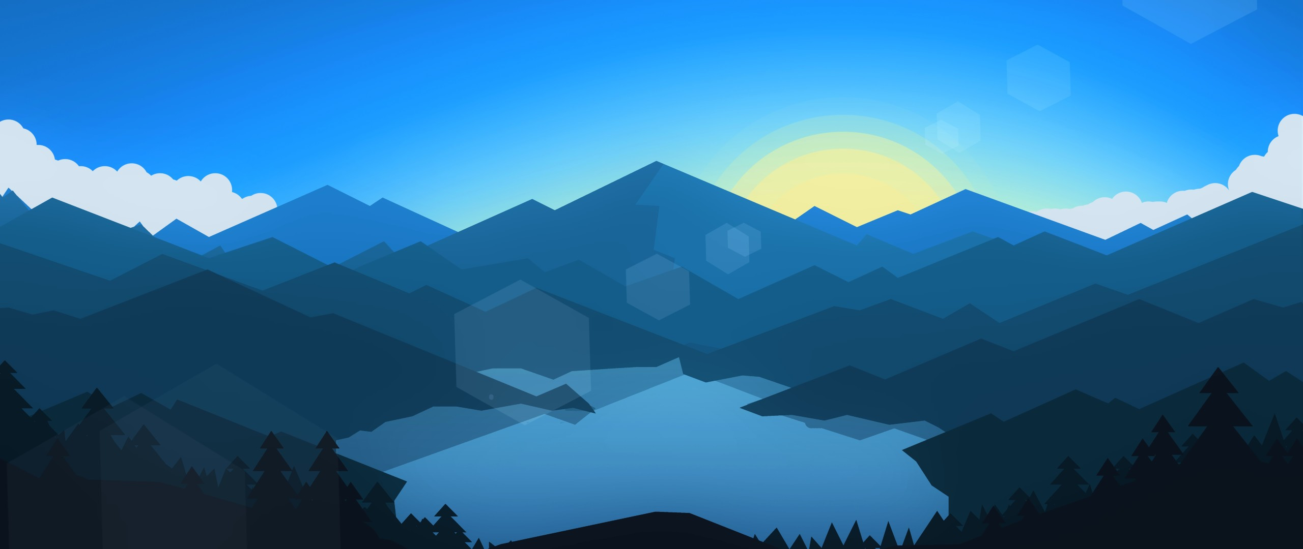 Mountains Minimalism Hd 4k Wallpaper: Forest Mountains Sunset Cool Weather Minimalism, HD 8K