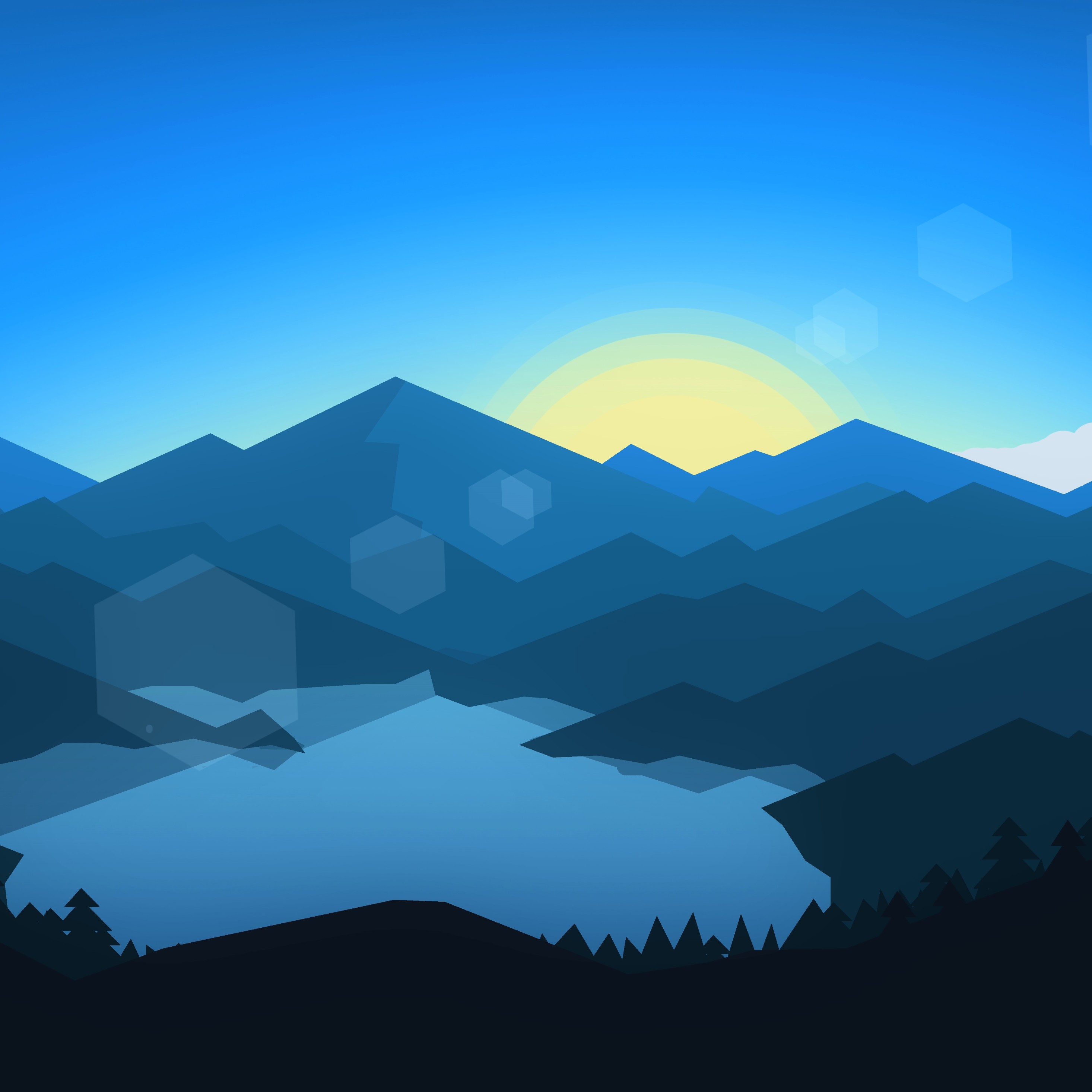 Forest Mountains Sunset Cool Weather Minimalism, HD 8K
