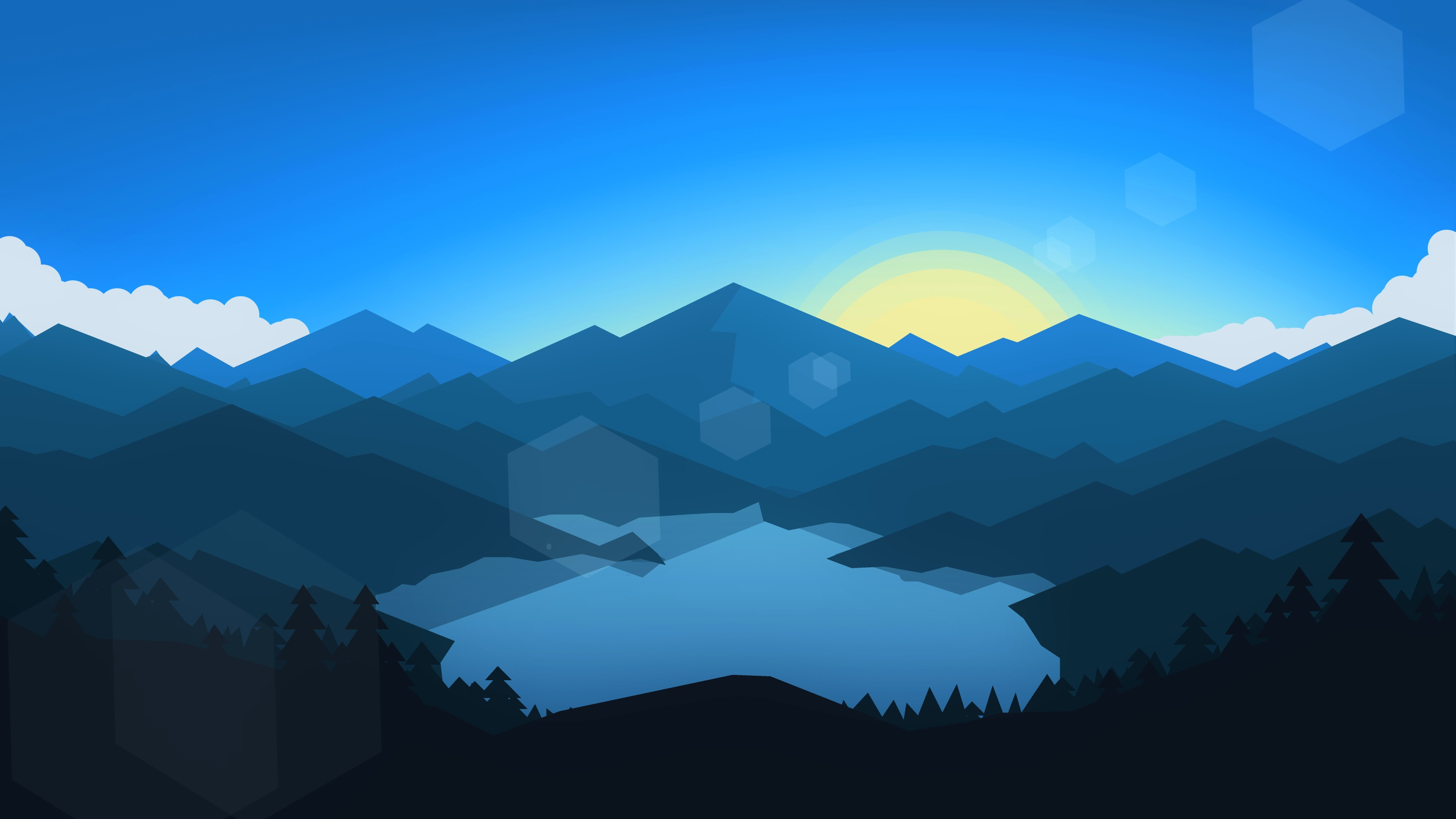 Forest Mountains Sunset Cool Weather Minimalism, HD 8K ...