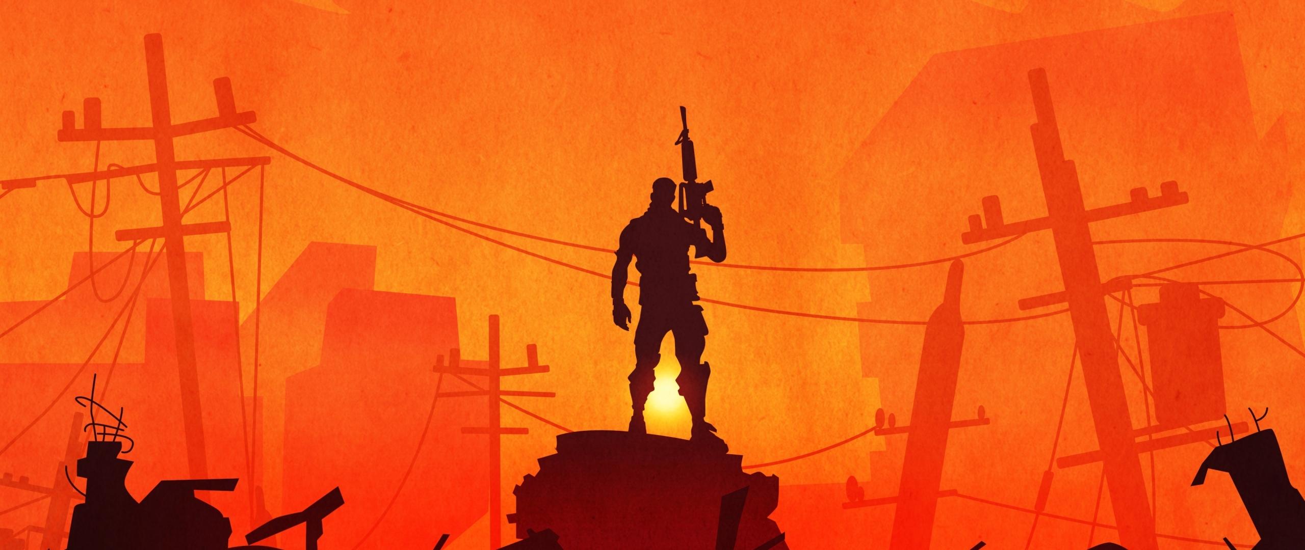 Fortnite Warrior Silhouette In Sunset  Hd 4k Wallpaper