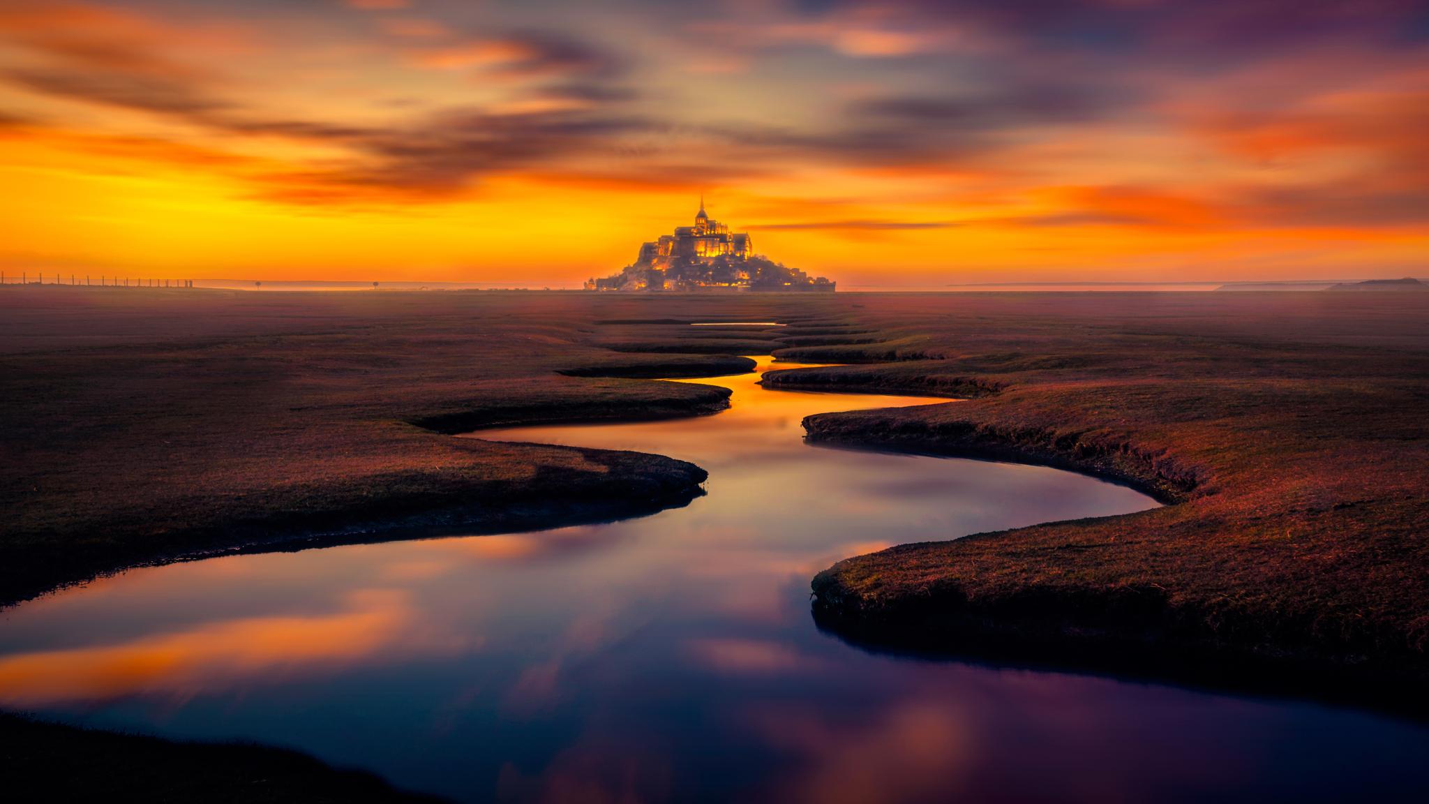 2048x1152 France Mont Saint Michel Sunset 2048x1152
