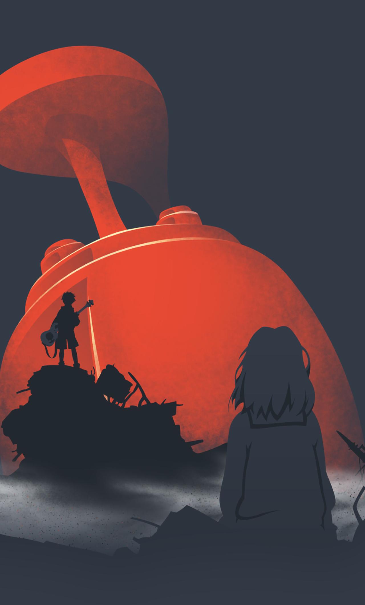 Download 1280x900 wallpaper silhouette, furi kuri, anime, artwork.