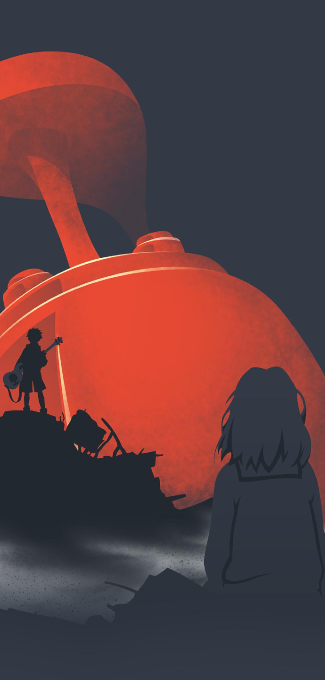 Download 1152x864 wallpaper silhouette, furi kuri, anime, artwork.